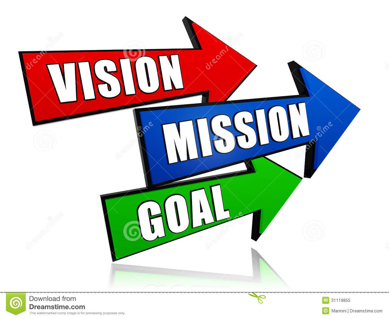 ... goal - text in 3d red, blue and green arrows, business concept words