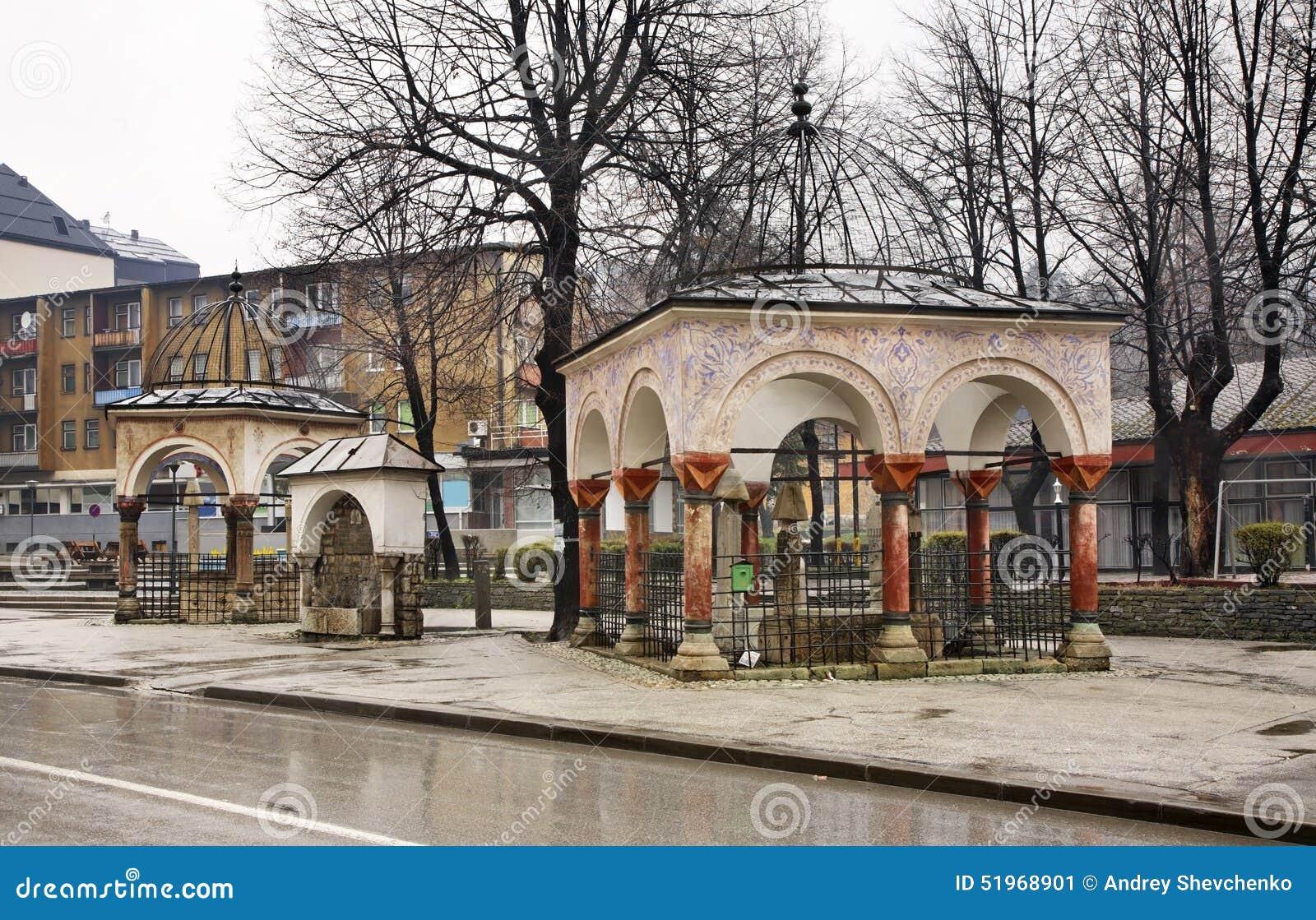 Visir grav (turbe) i Travnik stämma överens områdesområden som Bosnien gemet färgade greyed herzegovina inkluderar viktigt, plane