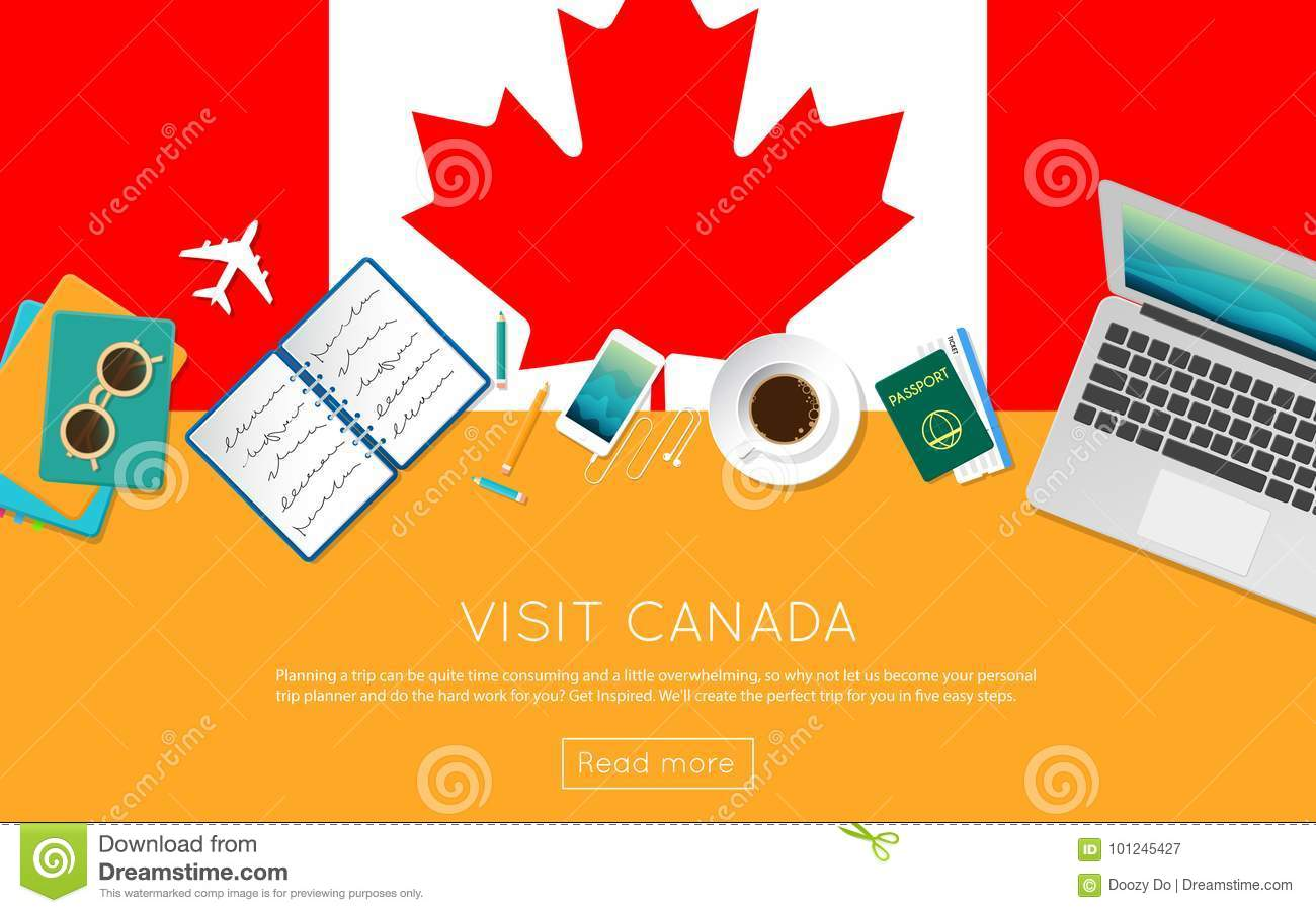 Visit Canada Concept For Your Web Banner Or Print Stock Vector Illustration Of Explore Homeland 101245427