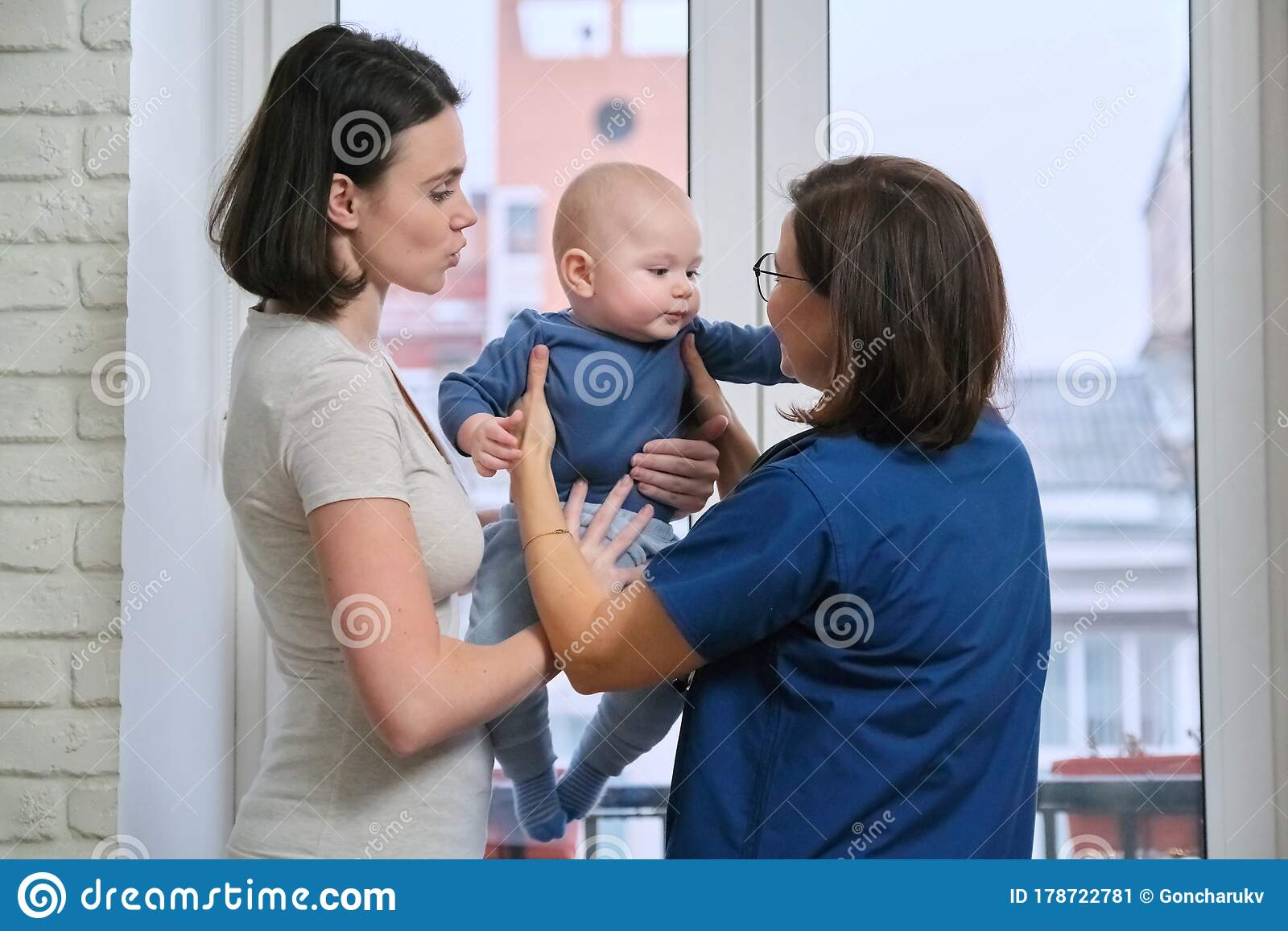 Visit Of Doctor Pediatrician Home, Mother With Baby Son ...