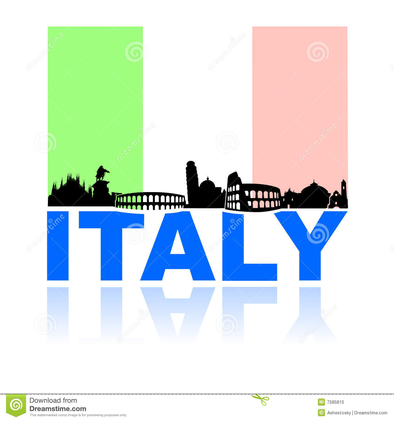 Vector illustrations of most famous italian monuments with national ...