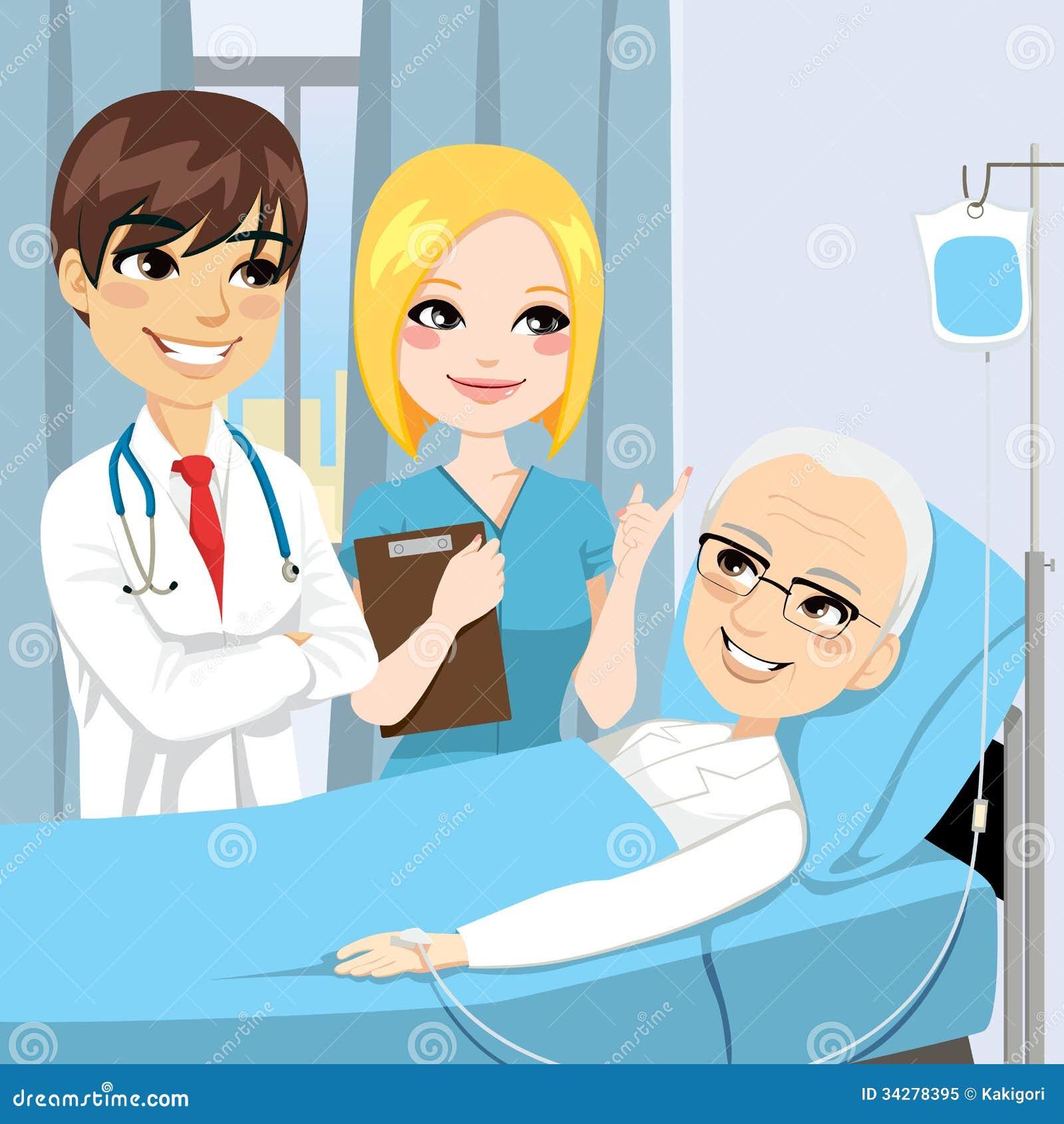 篡改并且护理参观躺下在医院病床上的一名资深老人患者接受静脉内图片