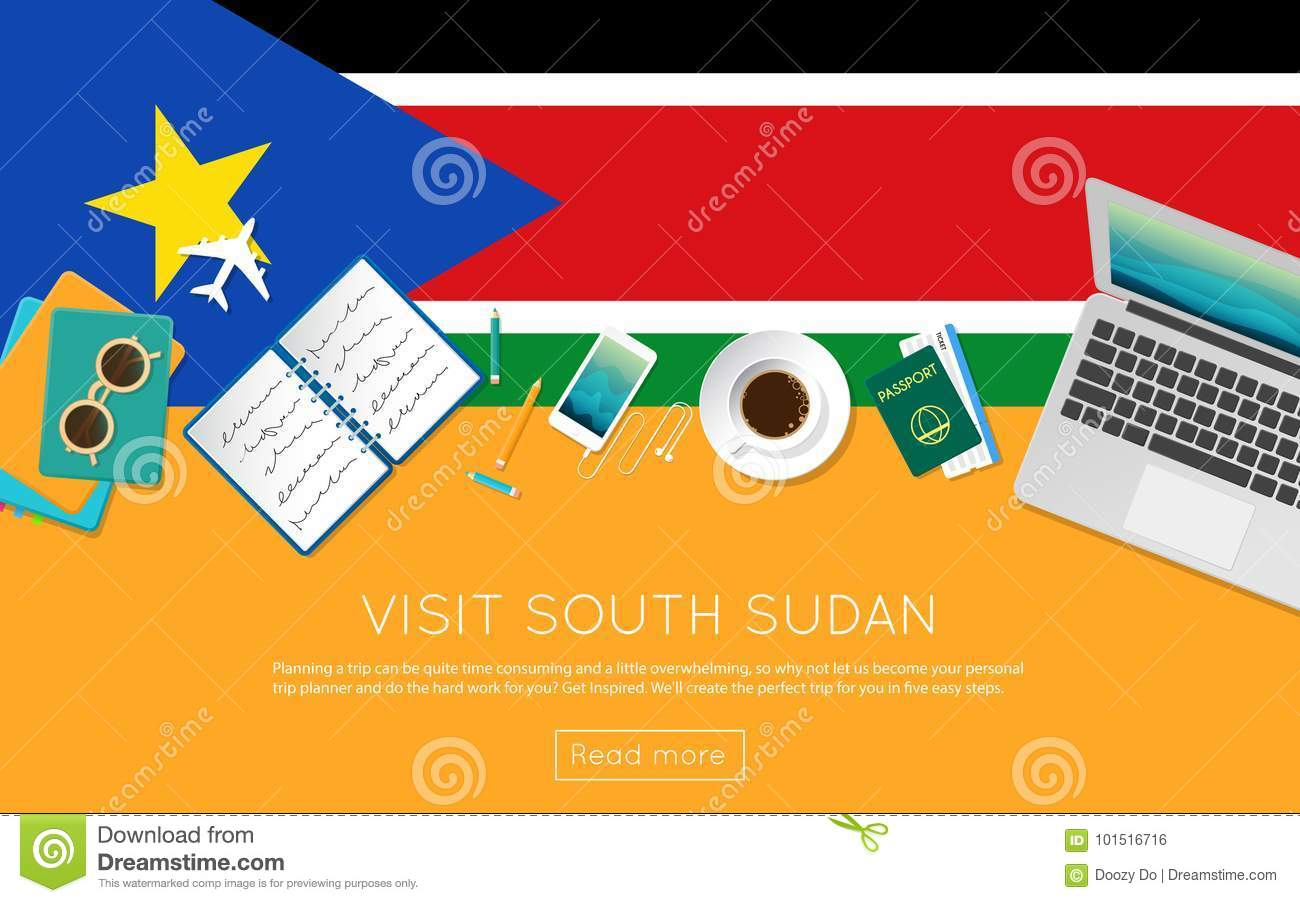 Visit South Sudan Concept For Your Web Banner Or  Stock Vector