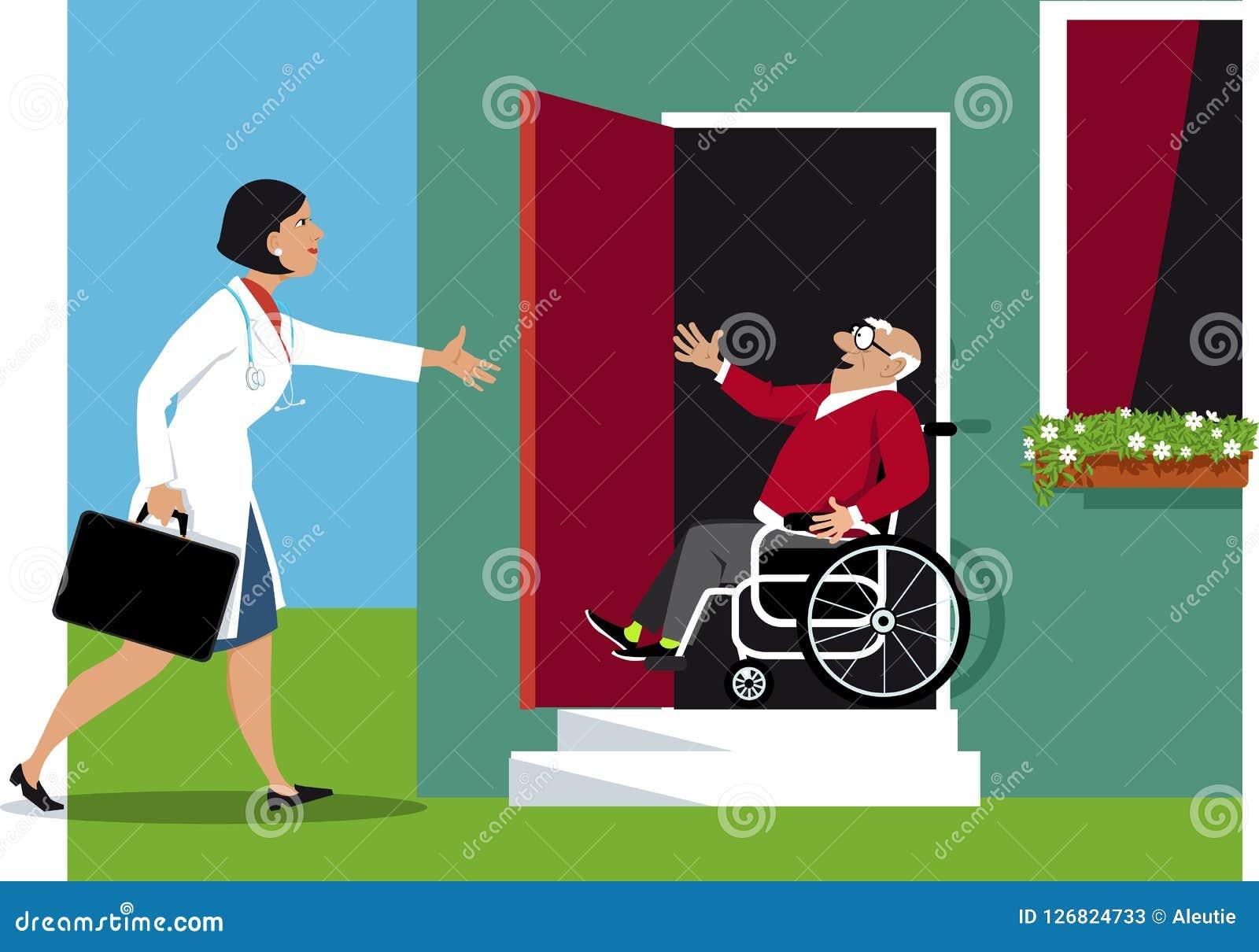 Visite à Domicile De Docteur Illustration de Vecteur