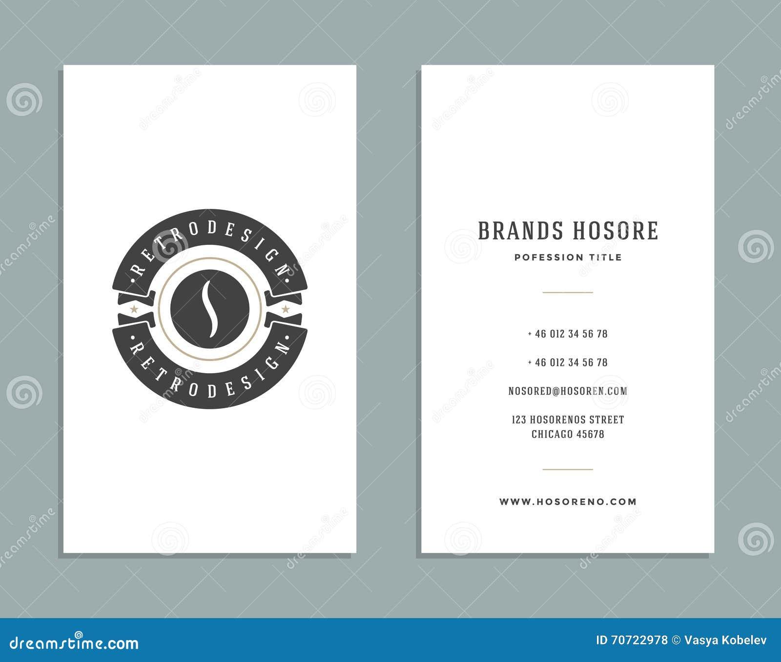 Visitenkarte Design Und Retrostil Logo Template Vektor