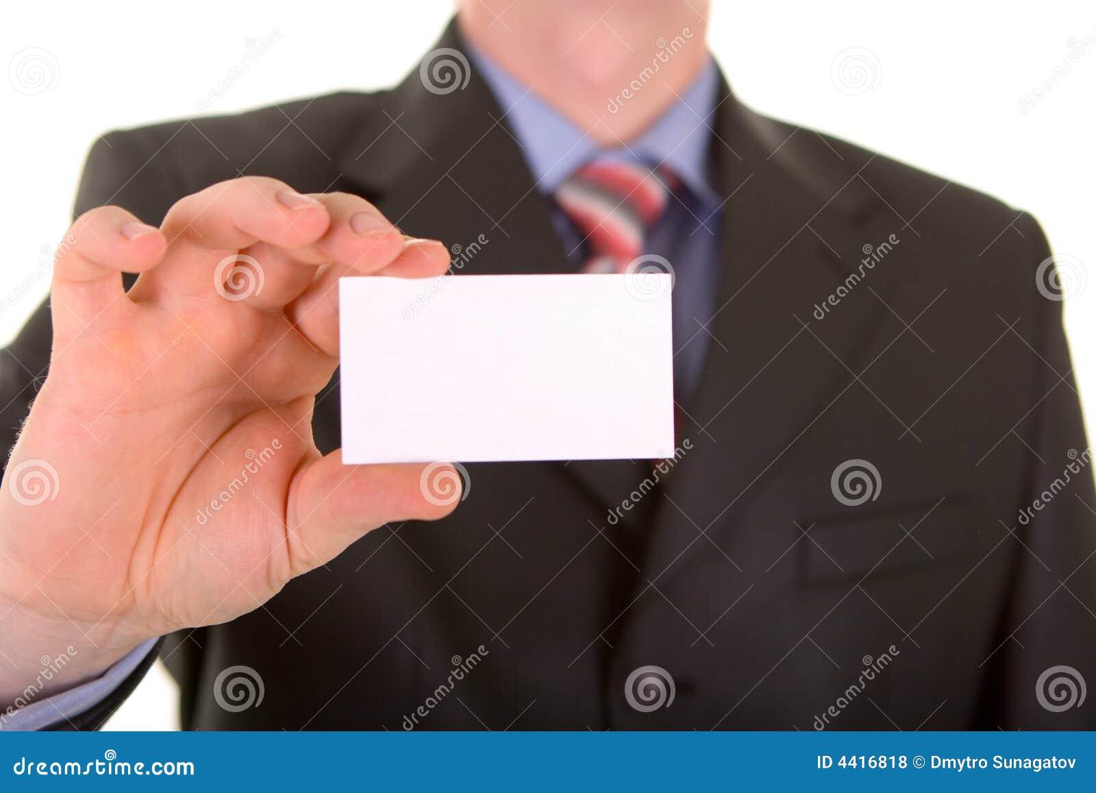 Visitenkarte in einer Hand