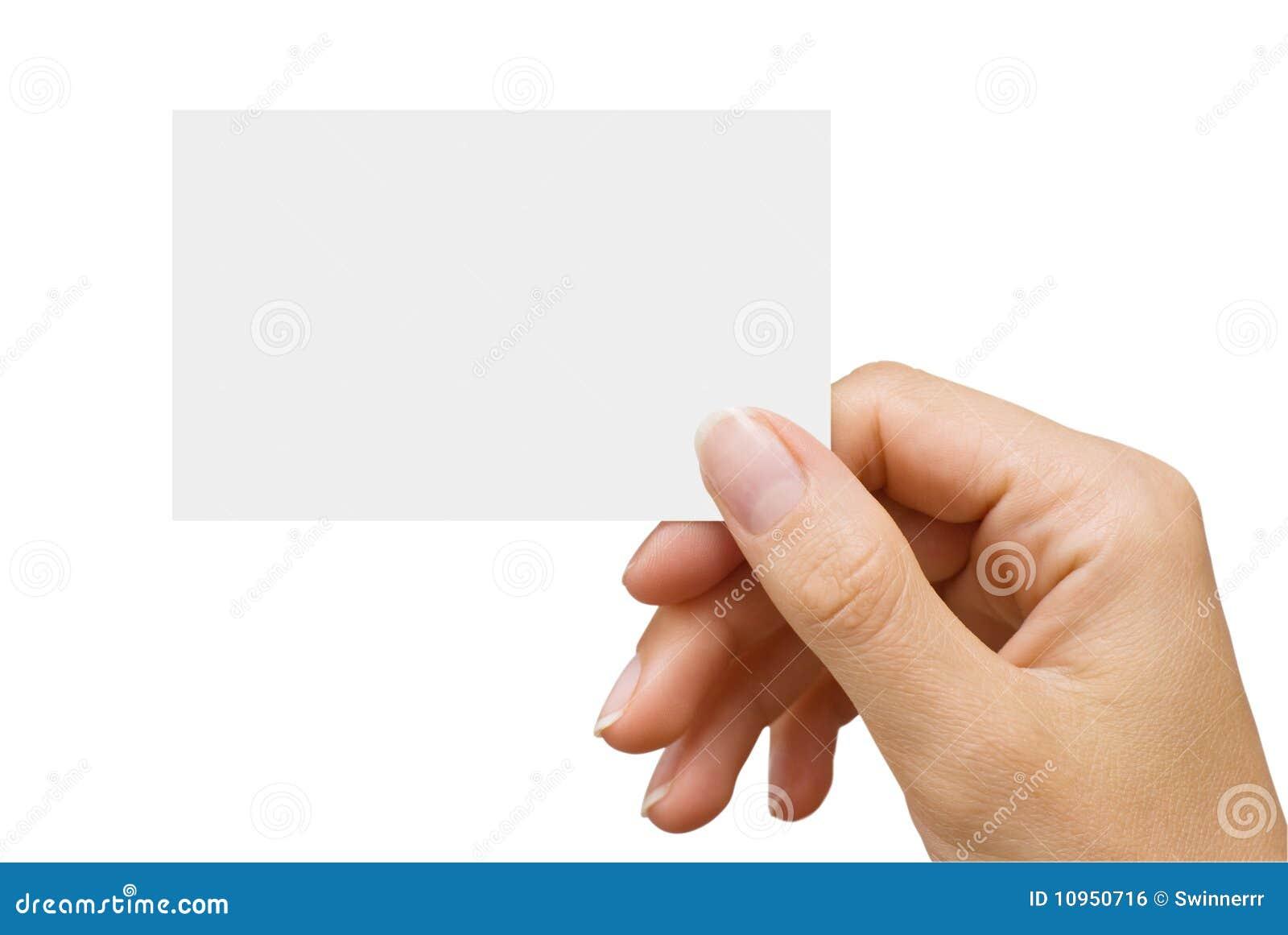 Visitenkarte in einer Hand der Frauen