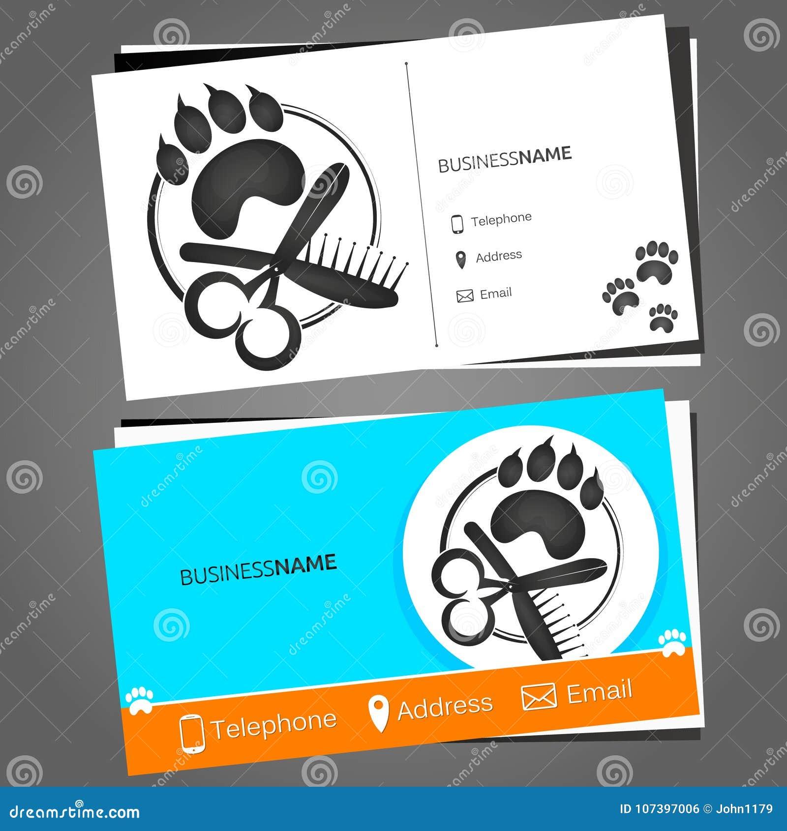 Visitenkarte Für Einen Friseur Für Haustiere Vektor
