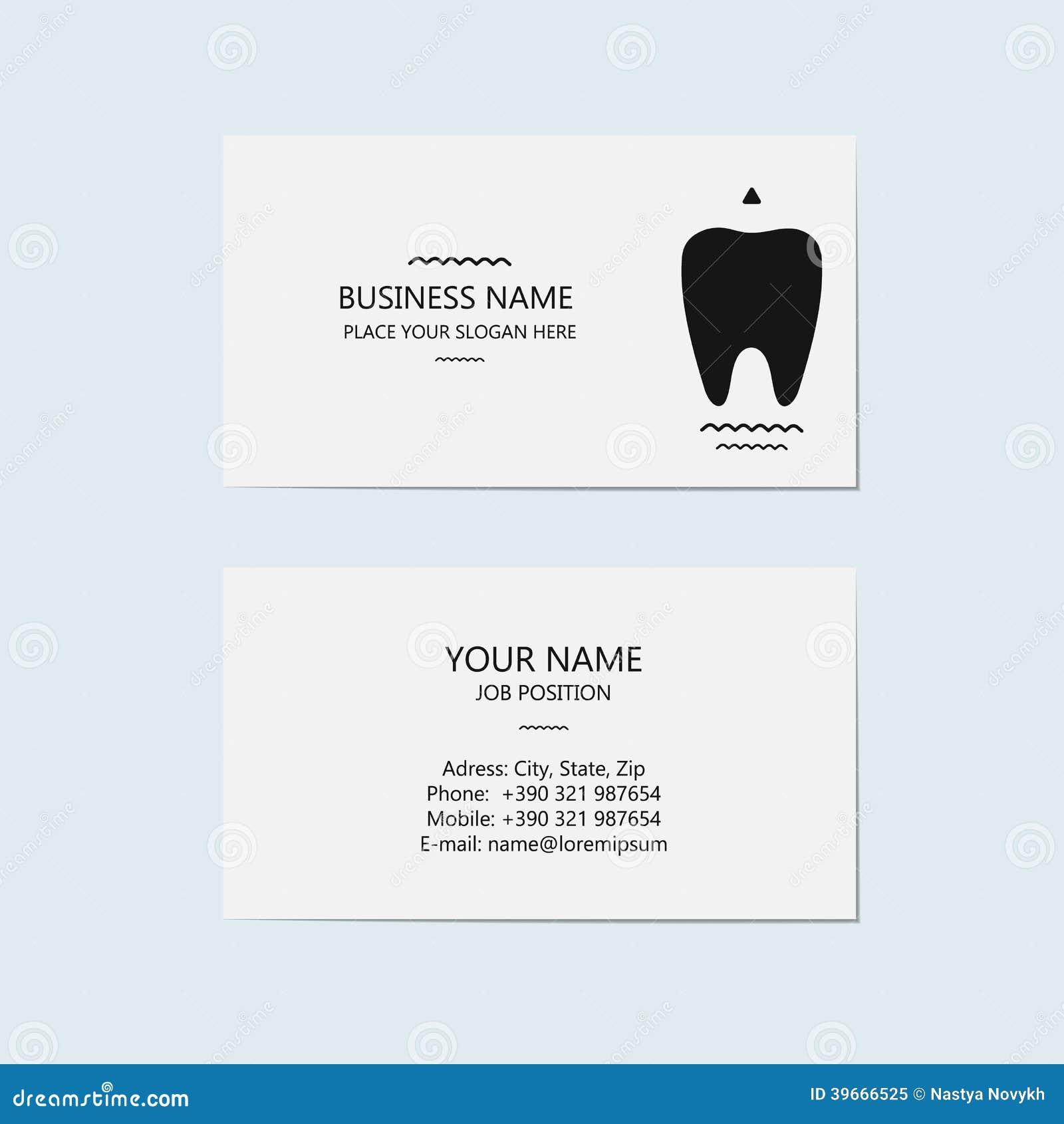 Visitenkarte Für Einen Zahnarzt Zahnmedizinische Klinik