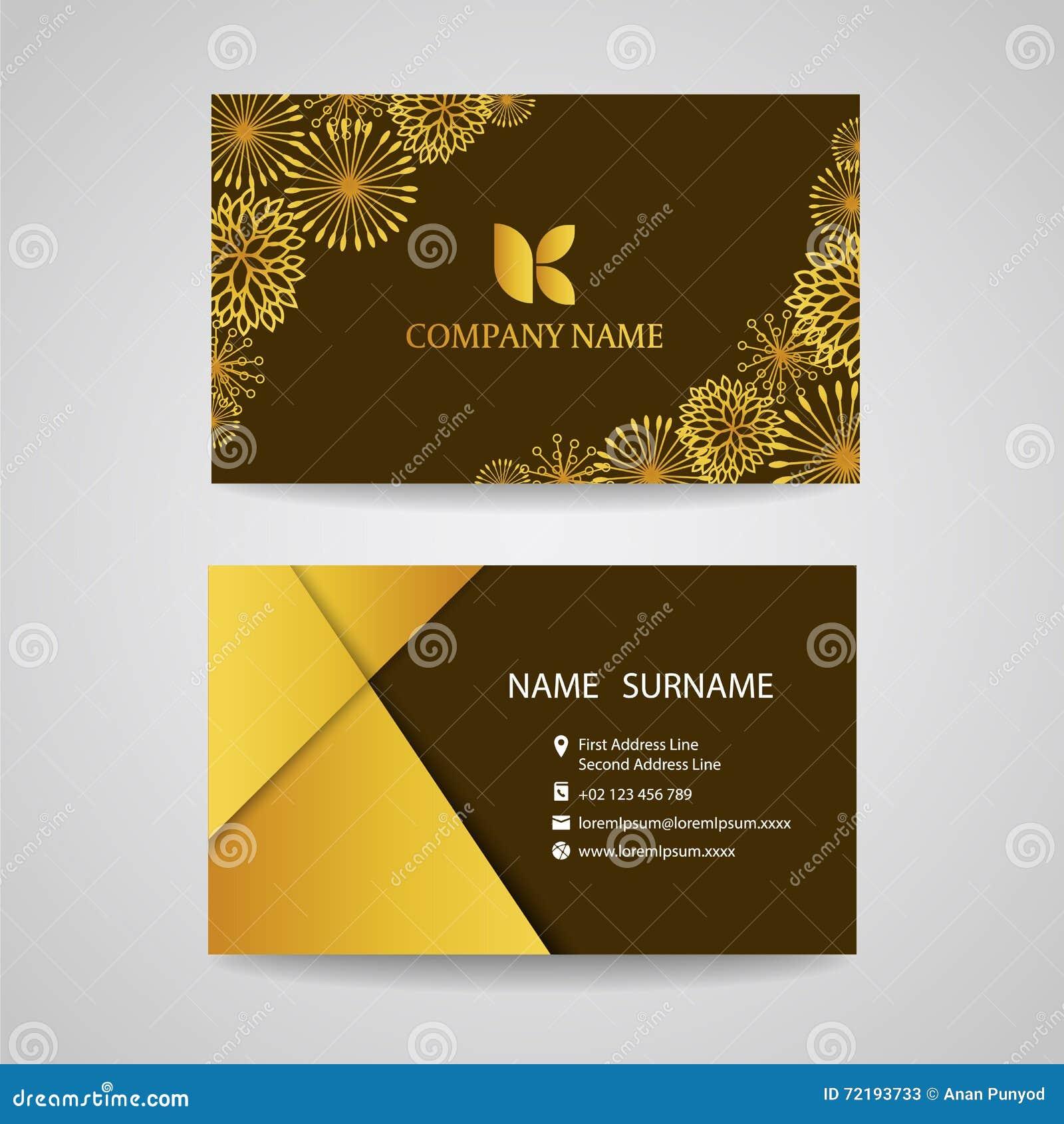 Visitenkarte Goldblumenrahmen Auf Braunem