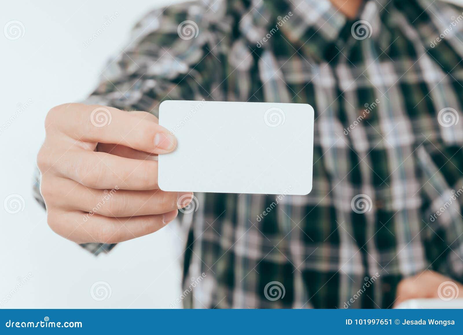 Visitenkarte Modell Der Junge Mann Der Leere Visitenkarte