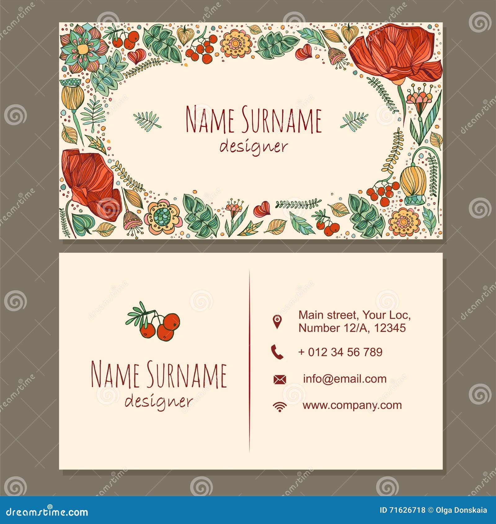 Visitenkarte Visitenkarte Mit Nette Hand Gezeichnetem