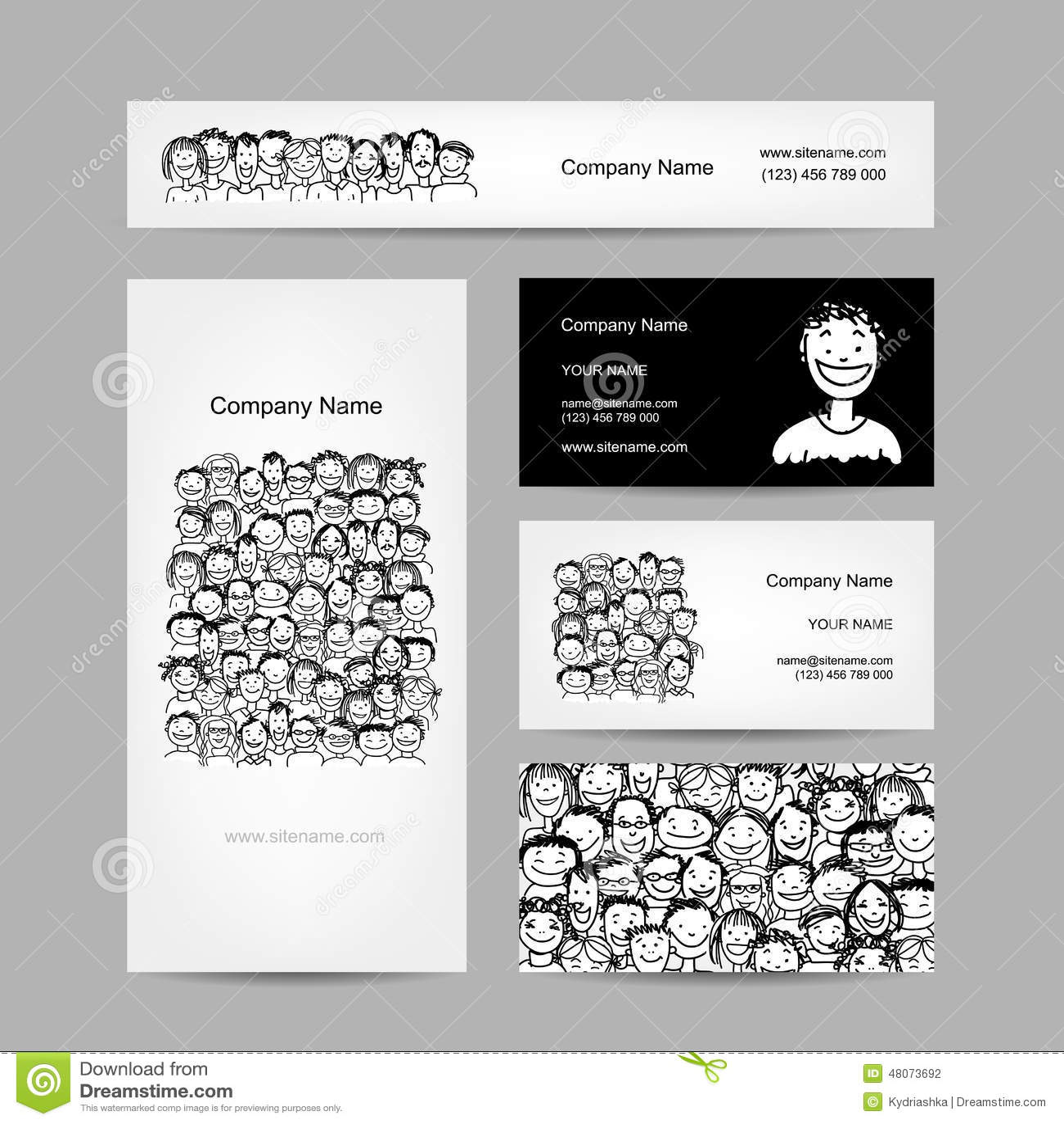 Visitenkarten Sammlung Leutemengendesign Vektor Abbildung