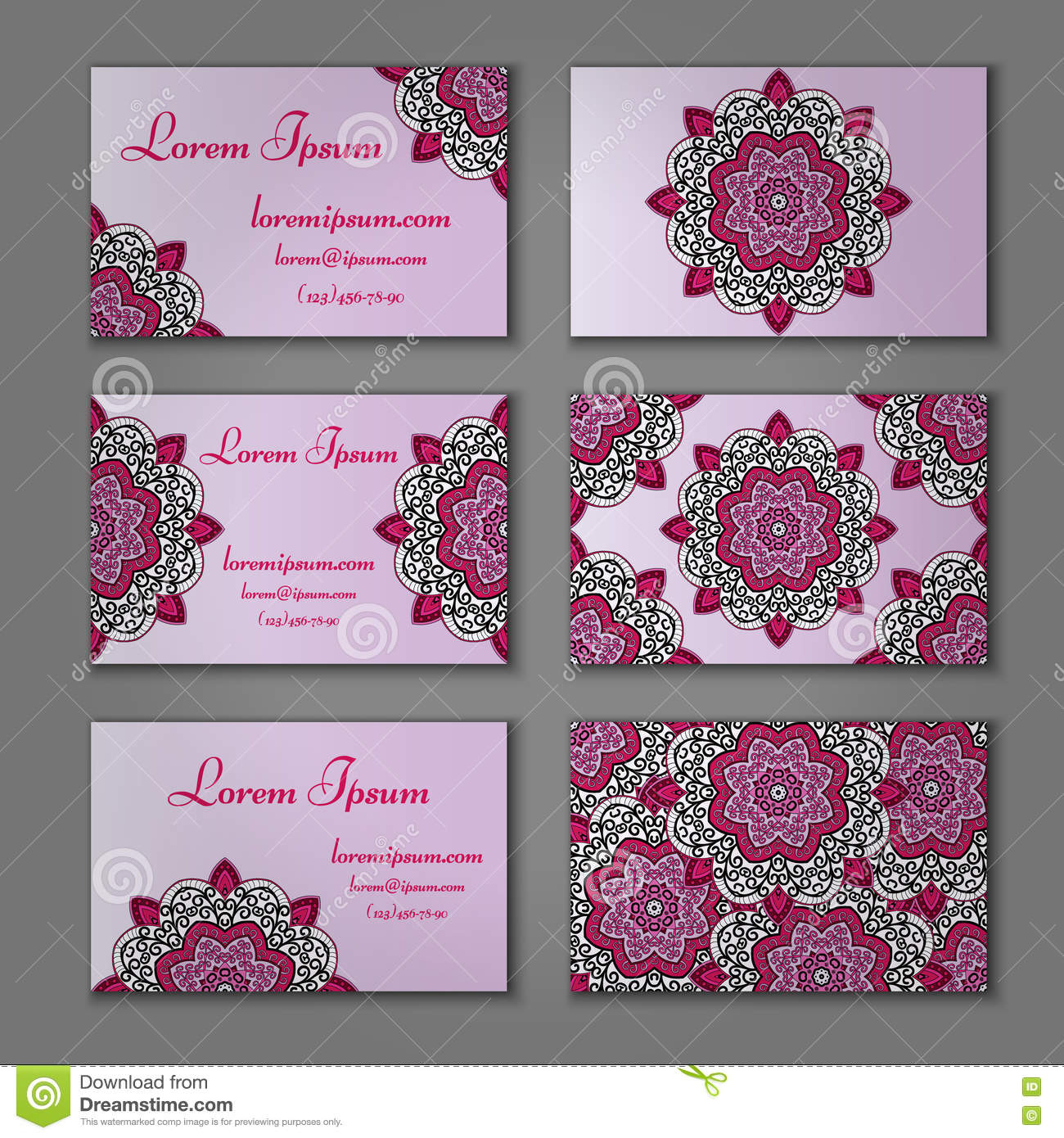 Visiting And Business Card Set With Mandala. Abstract Oriental ...