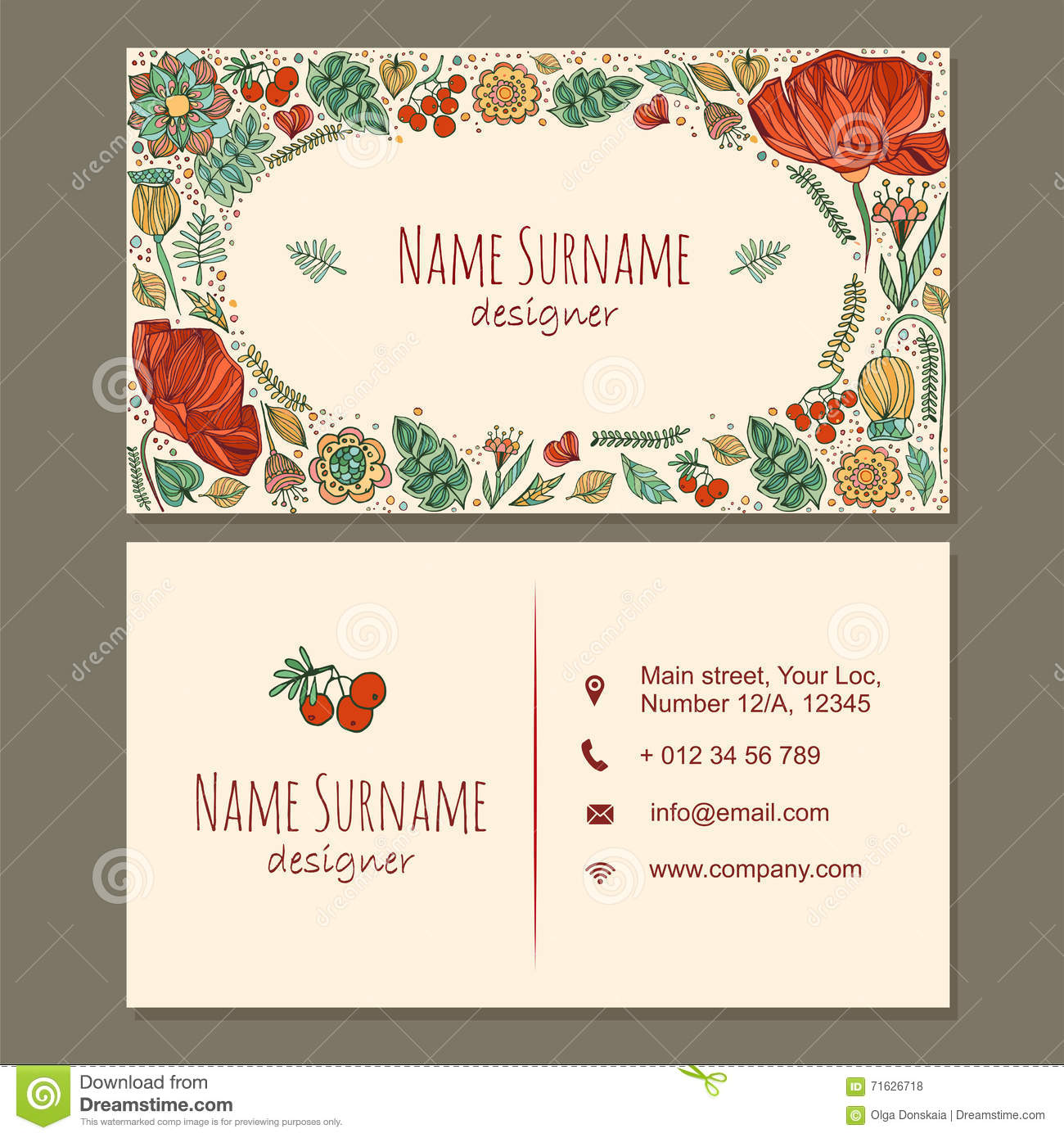 Visiting Card Business Card With Cute Hand Drawn Floral Pattern