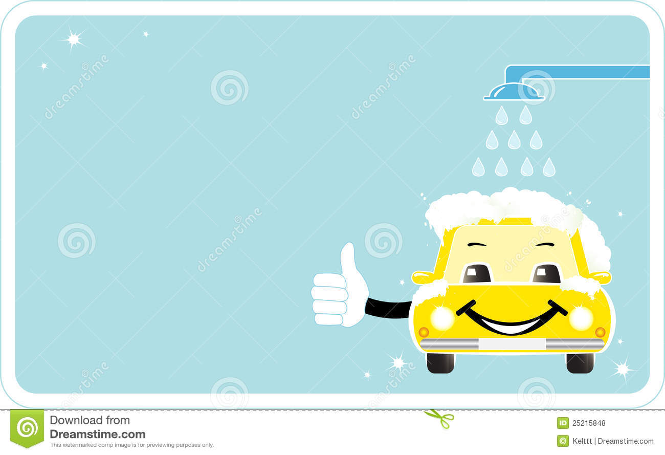 Visiting card with smiling car wash stock vector image for Auto detailing gift certificate template