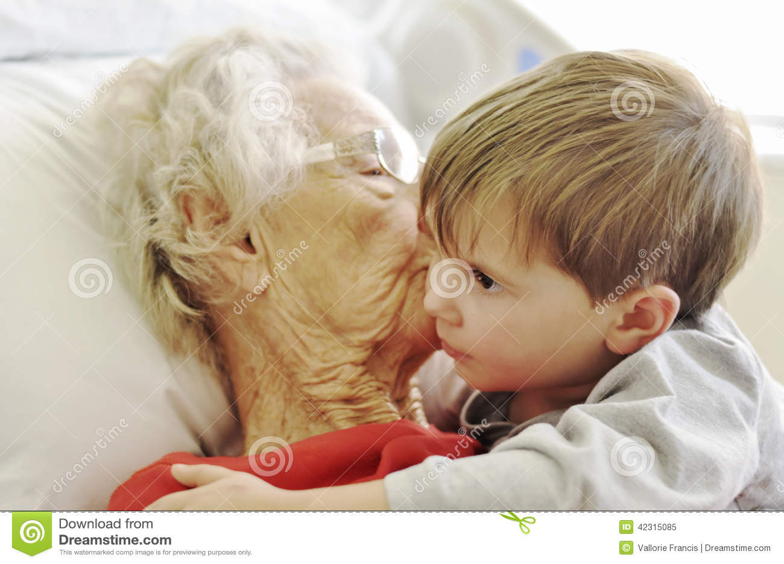 Visiting grandma in the hospital