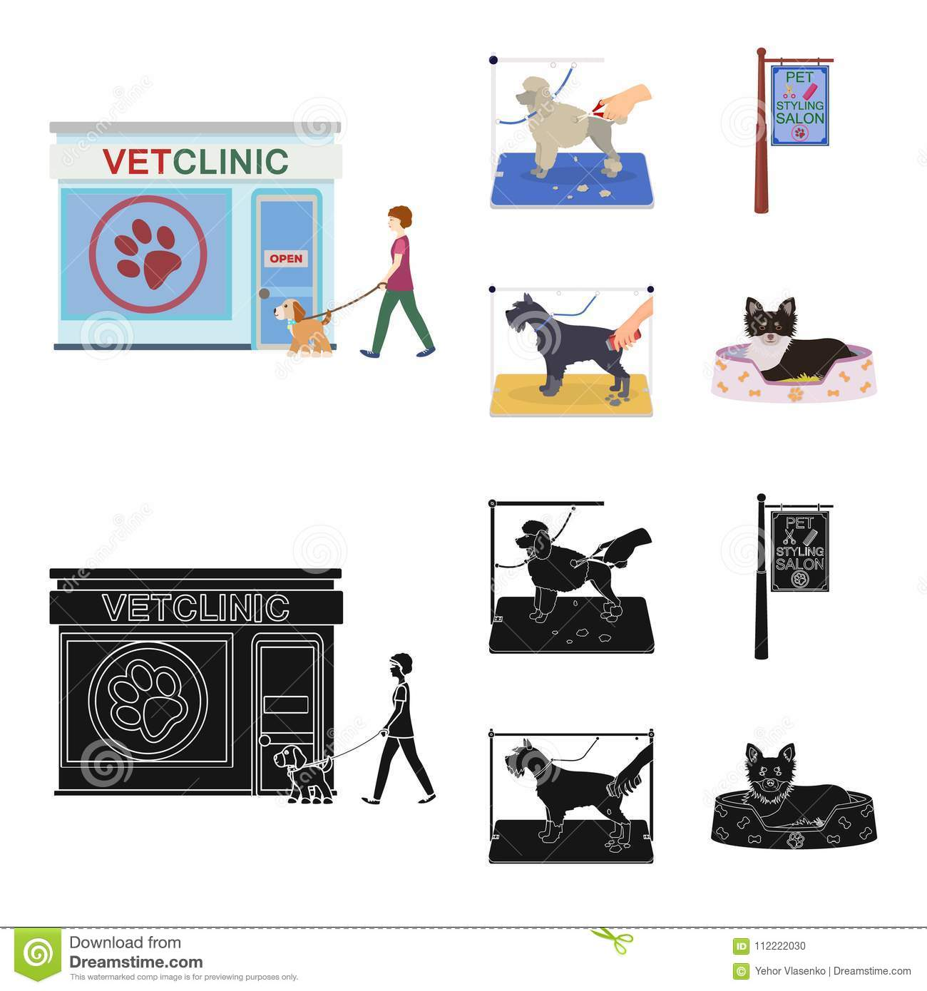 Visiting A Vet Clinic A Signboard Of A Stylish Salon For A Pet A