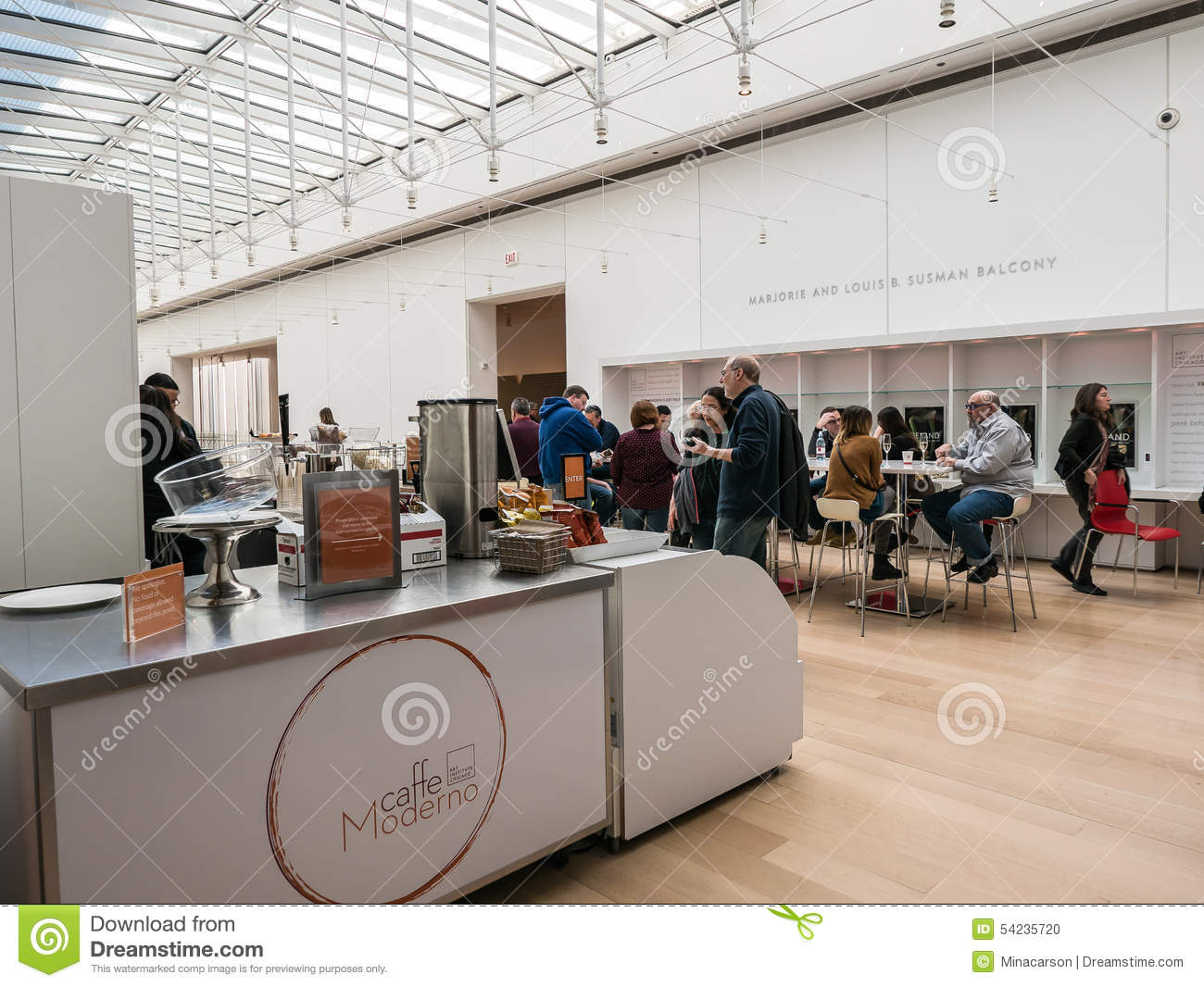 visitors at caffe moderno art institute of chicago editorial image