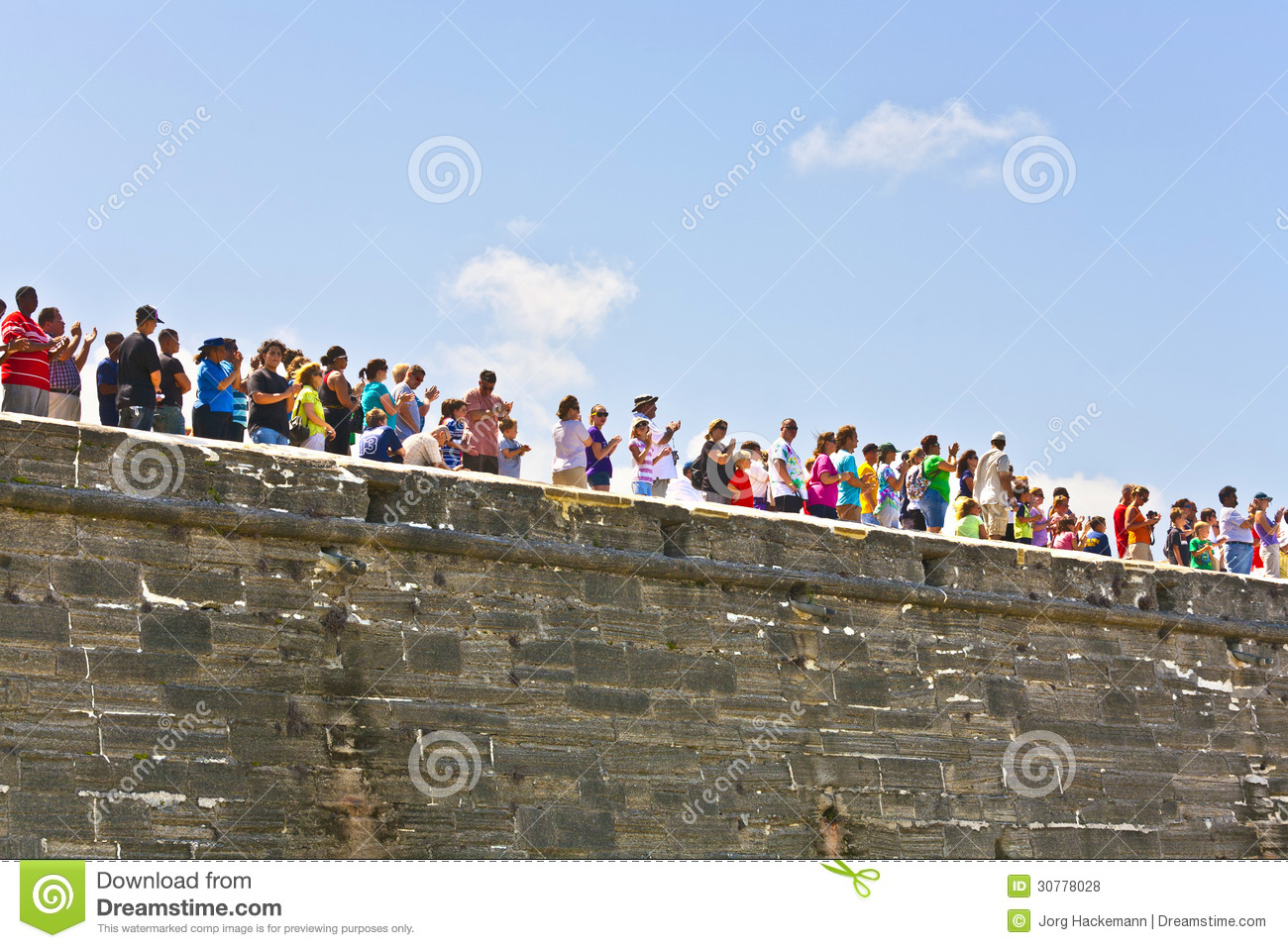 Visitors of the Historic weapon demonstration in Castillo de San Marcos in St. Augustine