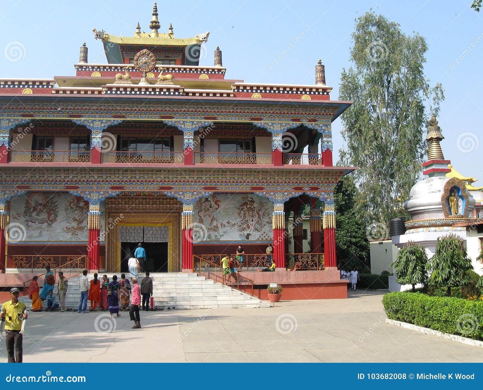 Visitors at Karma Tharjay Chokhorling Tibetan Monastery Bodh Gaya India