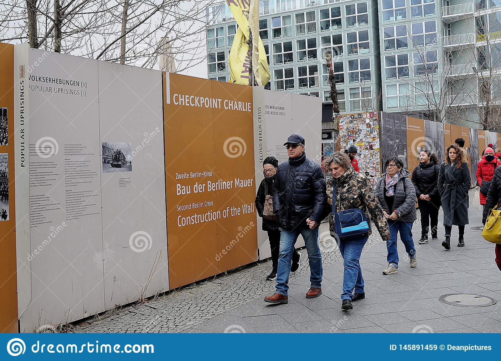 VISITORS AND LIFE AT CHECK POINT CHARLIES BERLIN. Check point charlie/berlain/ 05.March 2019. _Images are from Check point charlie, berlin 1989-2019 this Berlin royalty free stock images