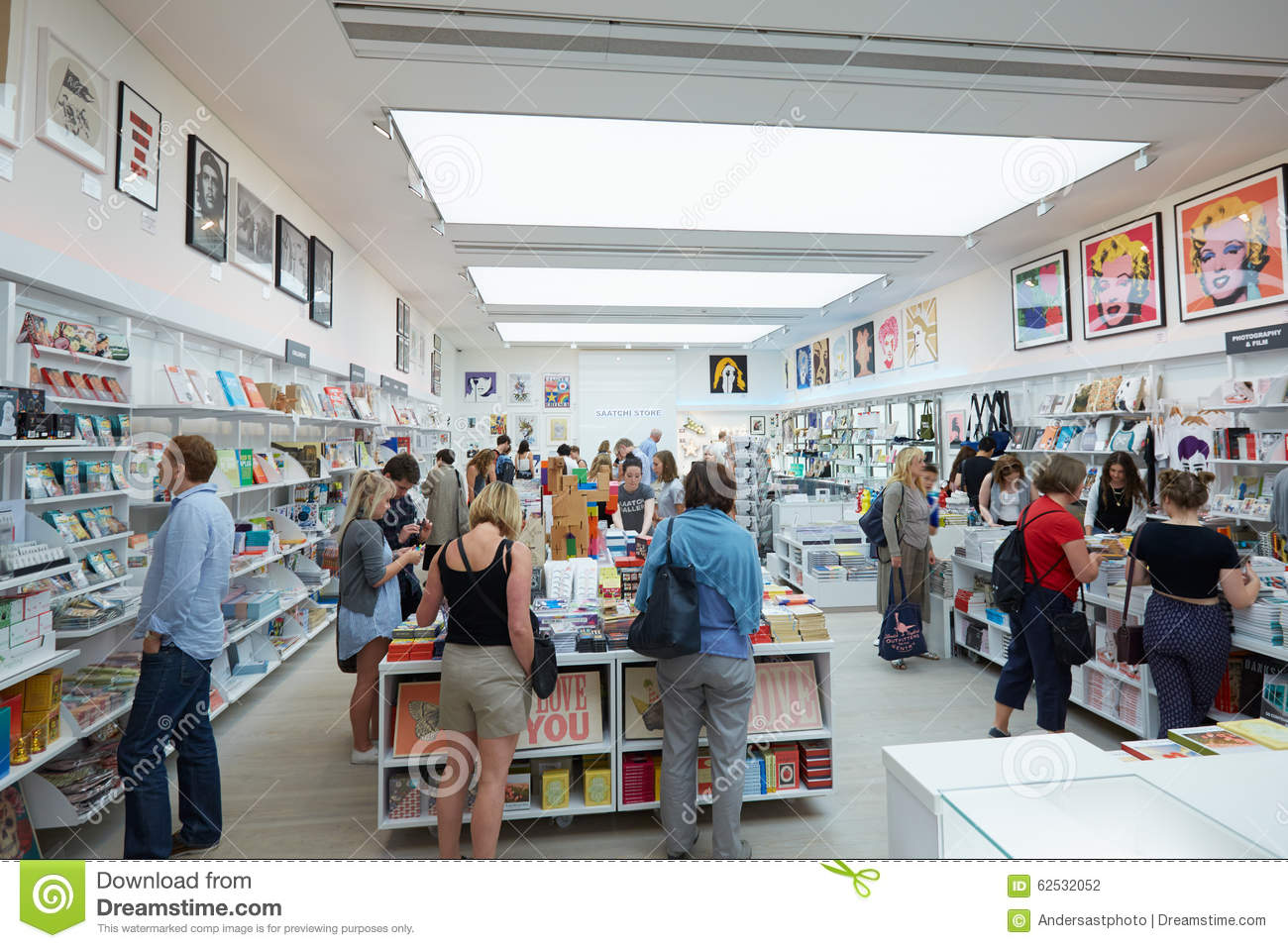 Visitors At The Saatchi Gallery Book Shop In London Editorial