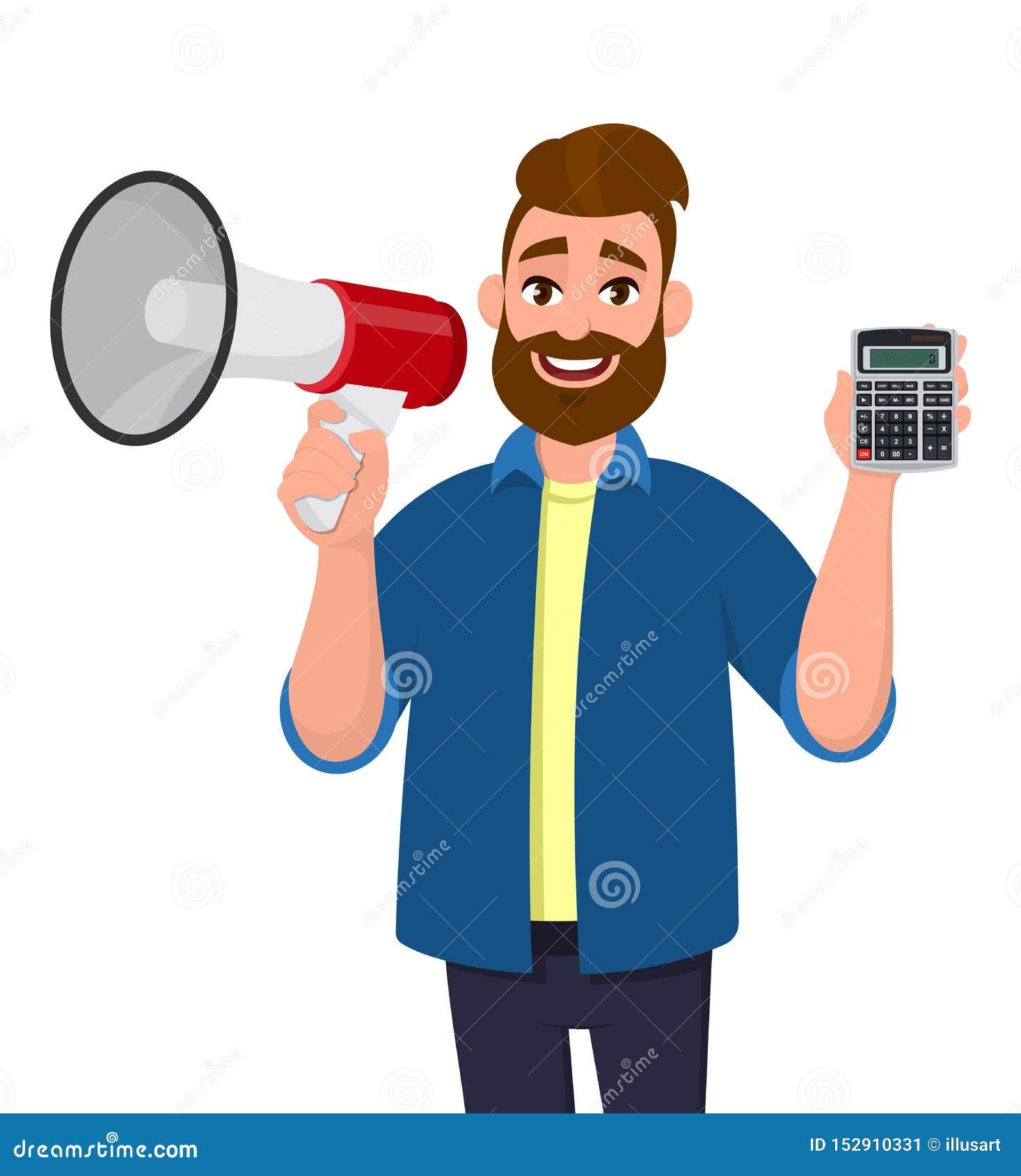 Visning för ung man eller rymma megafonhögtalaren och digitalt räknemaskinapparat och förstoringsglas i hand marknadsf?ring