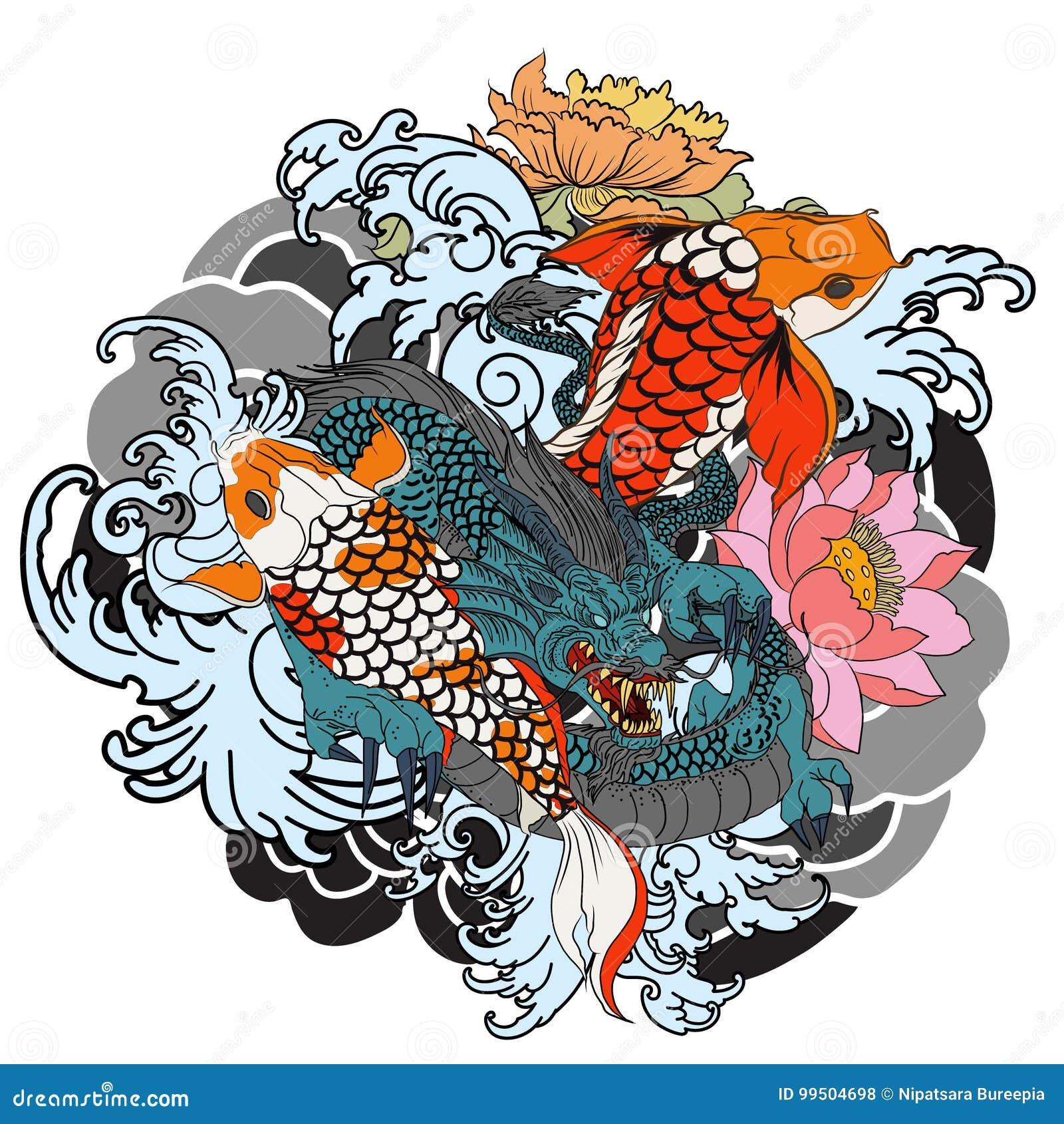 Vissen de hand getrokken Draak en koi met bloemtatoegering voor Wapen, Japans de tekening van de karperlijn het kleuren boek vect