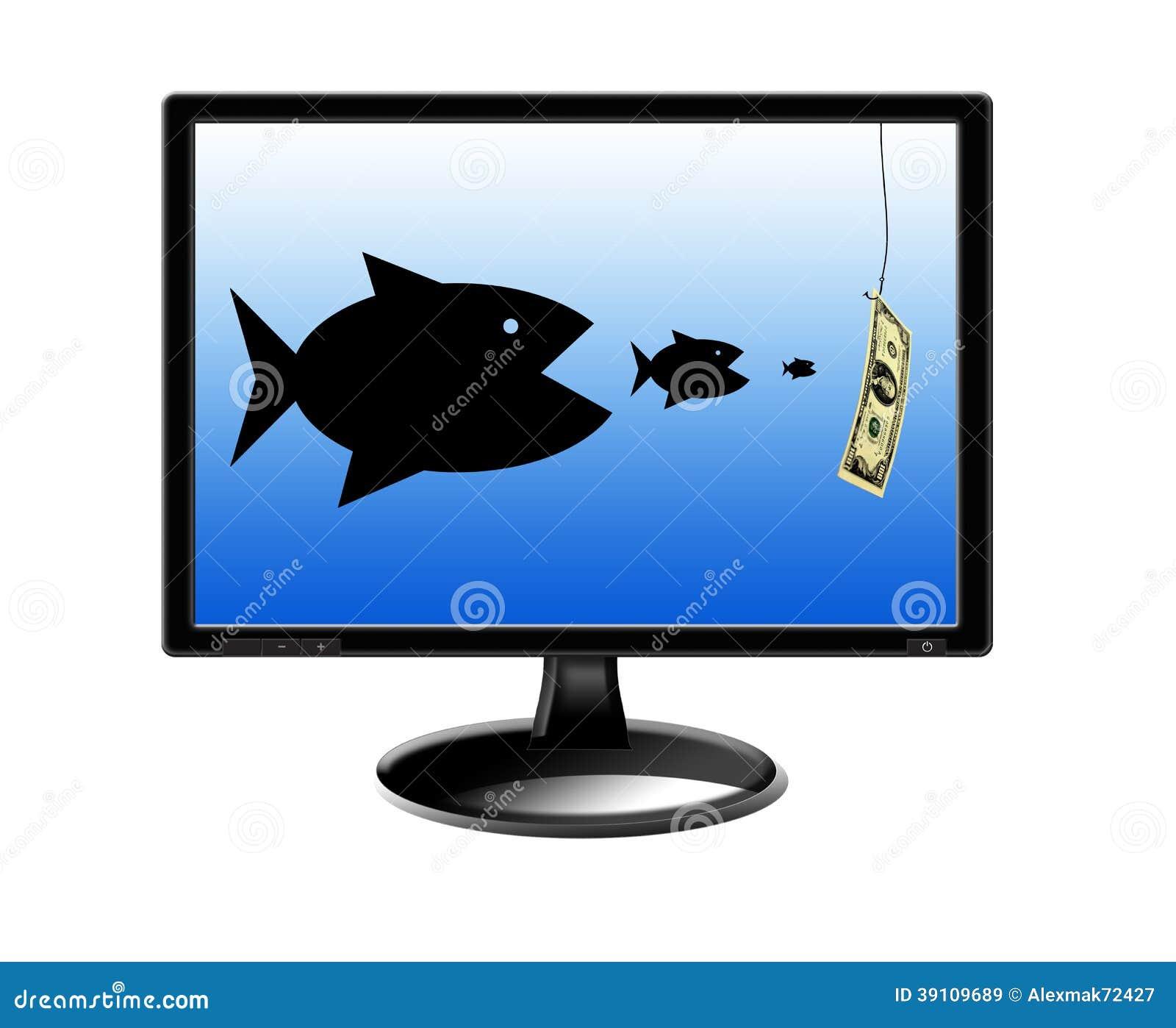 Vissen die elkaar verslinden en voor geld achtervolgen