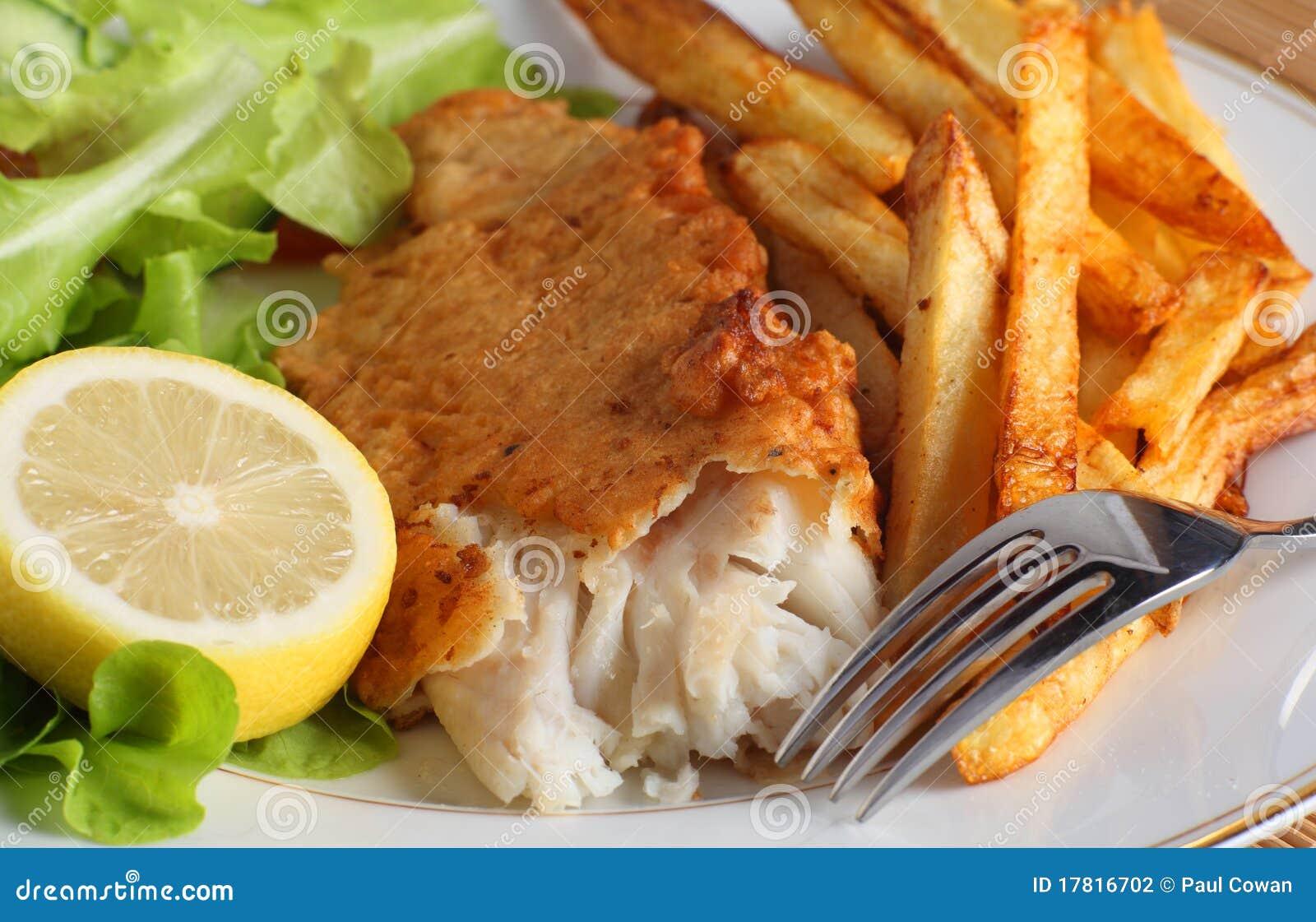 Vissen, gebraden gerechten en salade