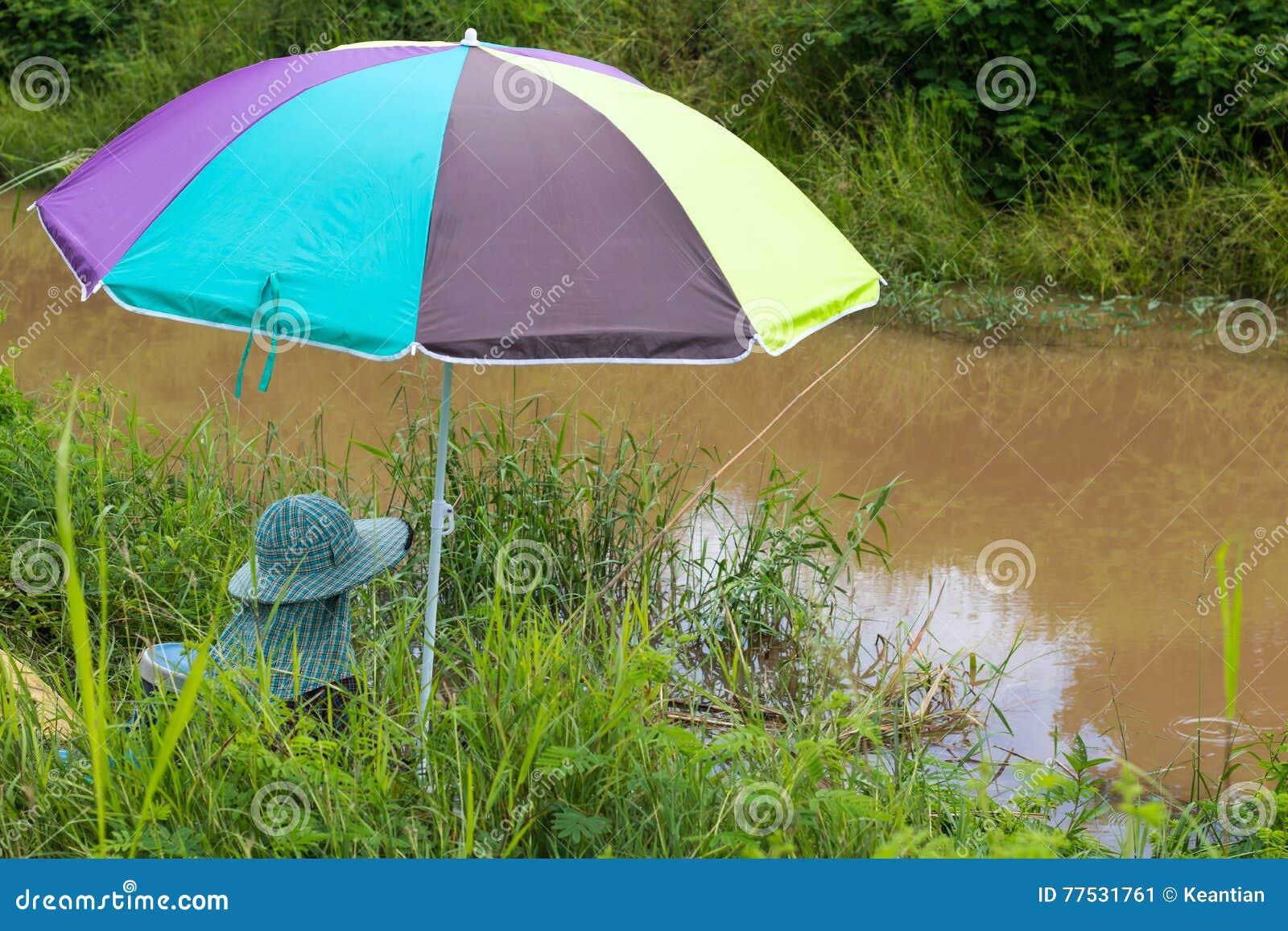 Vissende kleurrijke paraplu
