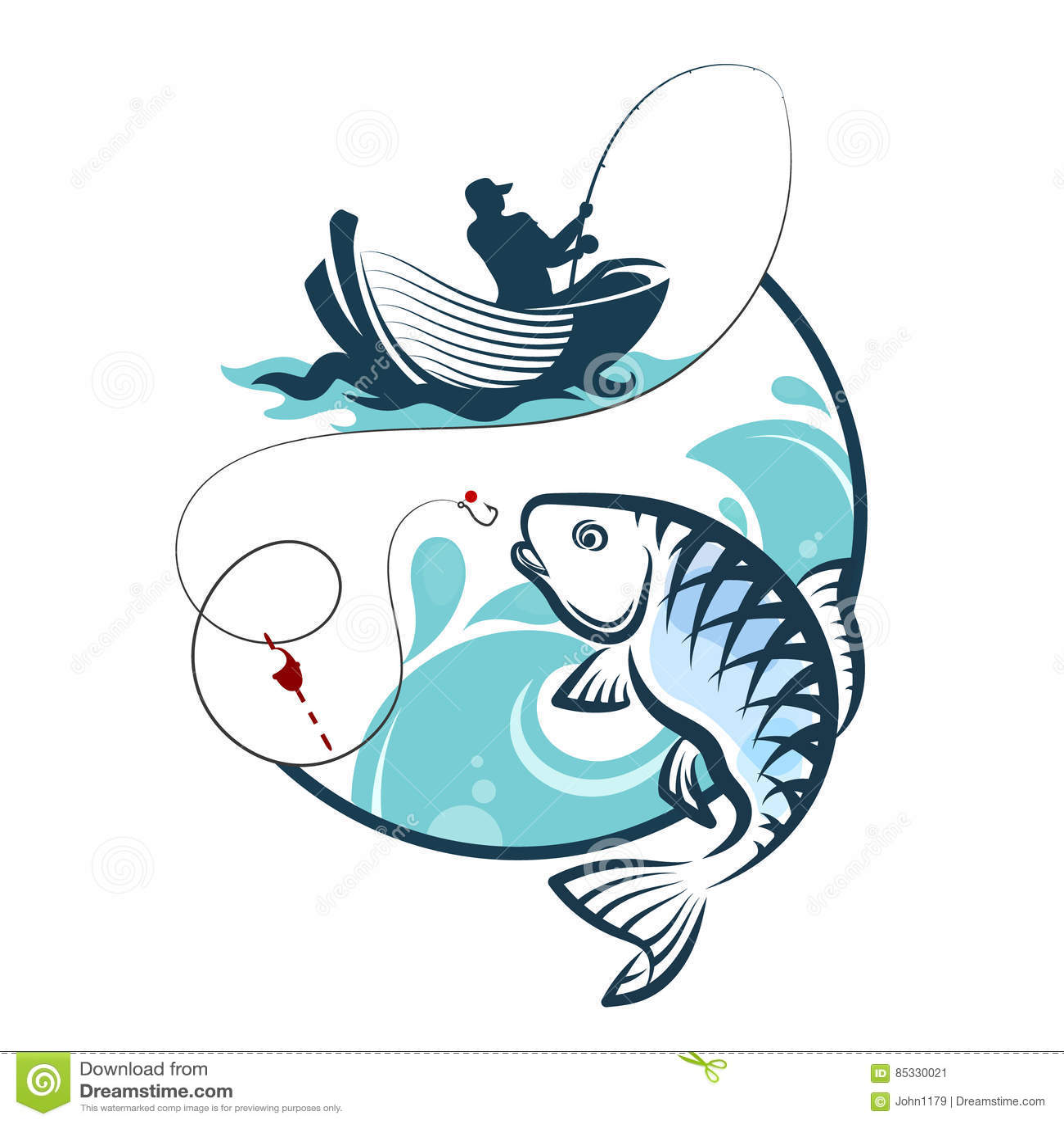 Visser die van een boot vissen