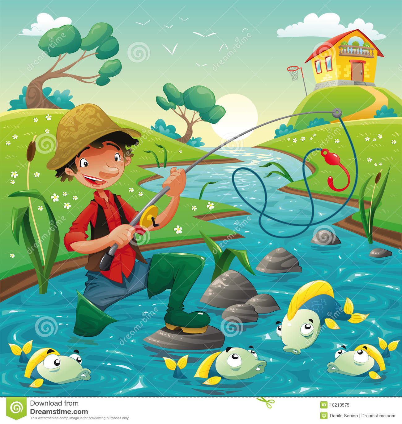 Visser en vissen in de rivier.