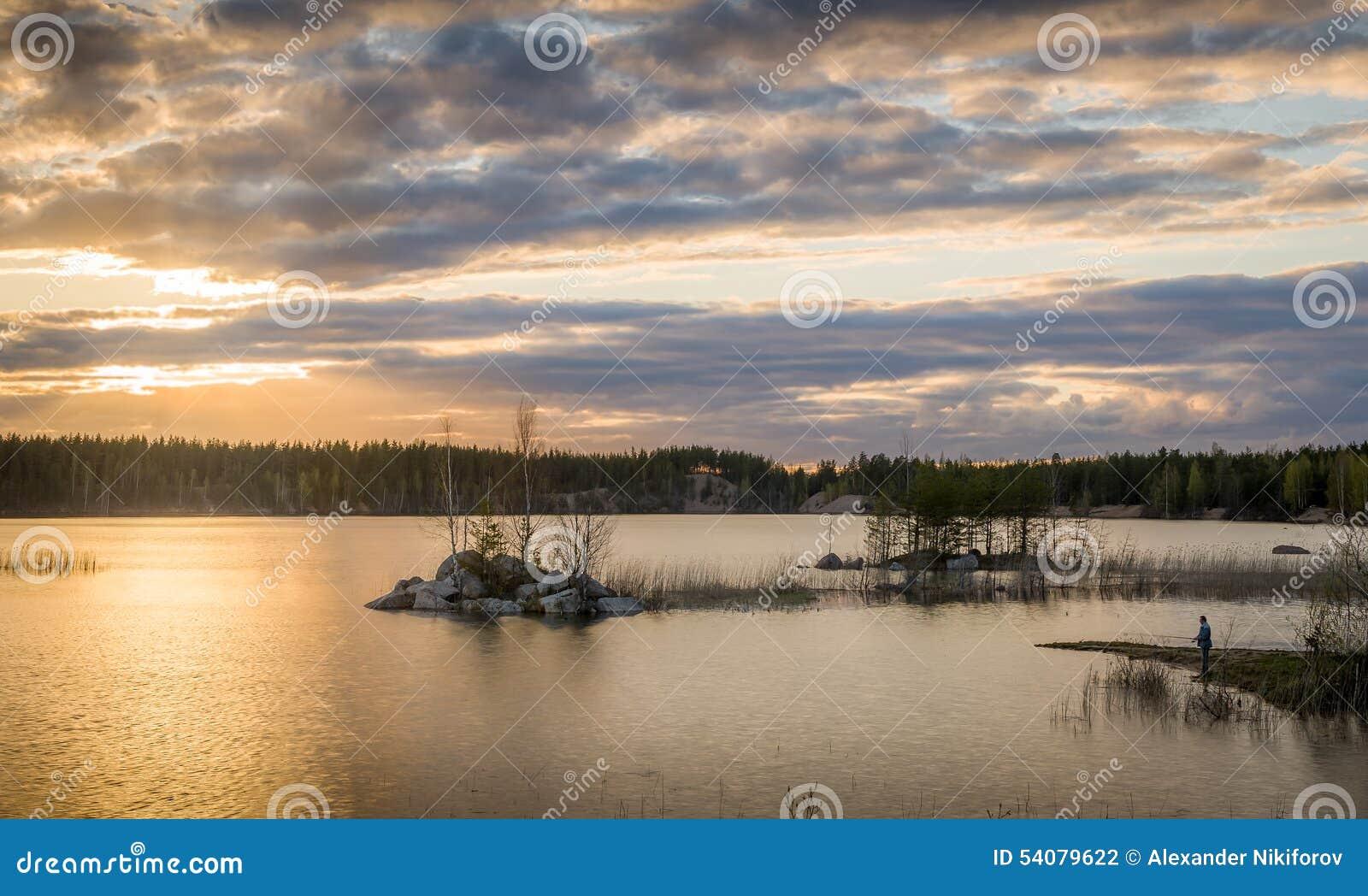 Visserij bij zonsondergang