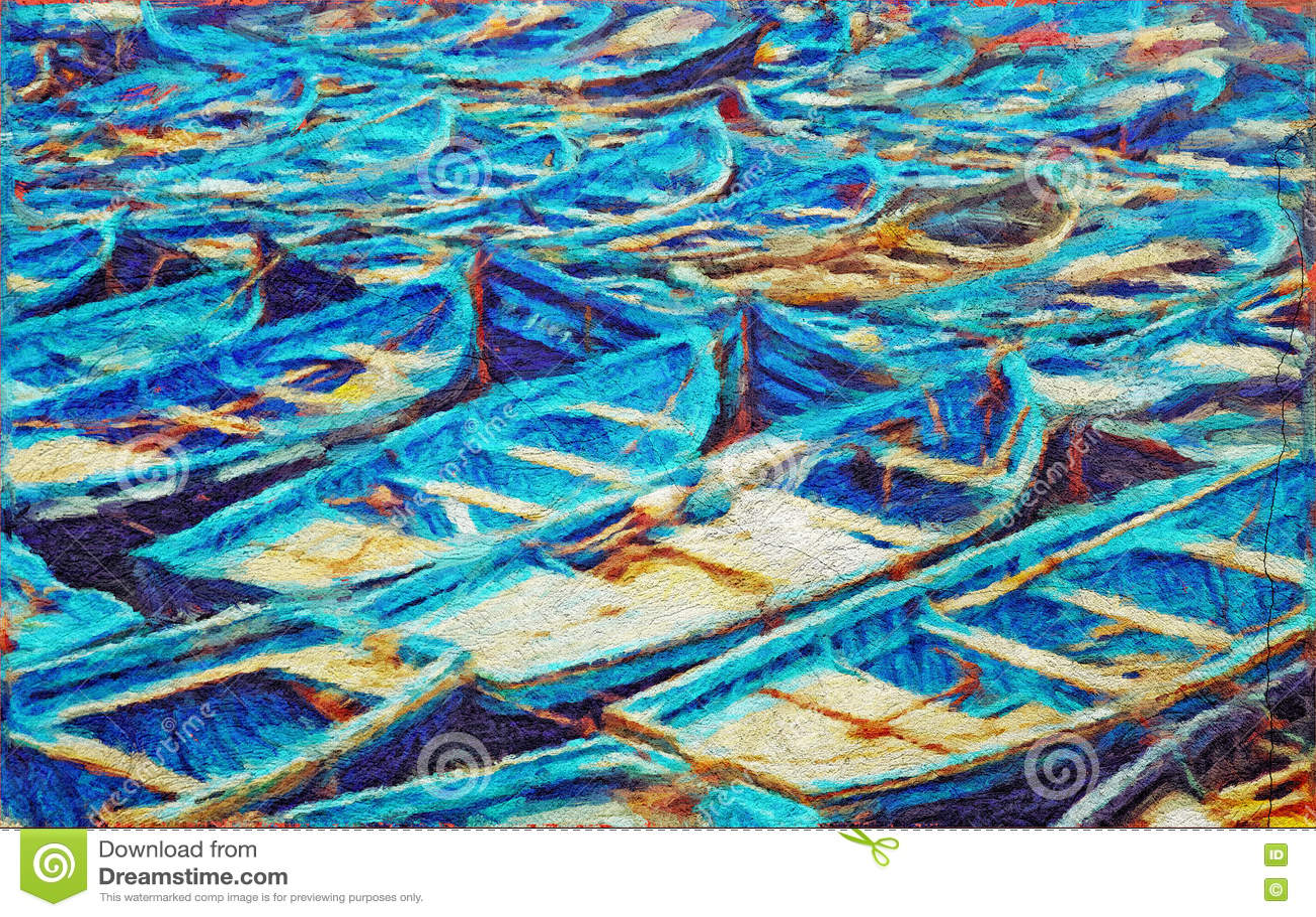De boten van de sleepboot op zee het acryl schilderen stock foto's ...