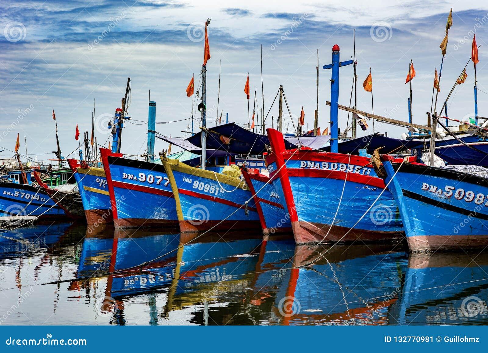 Vissershaven in danang in Vietnam