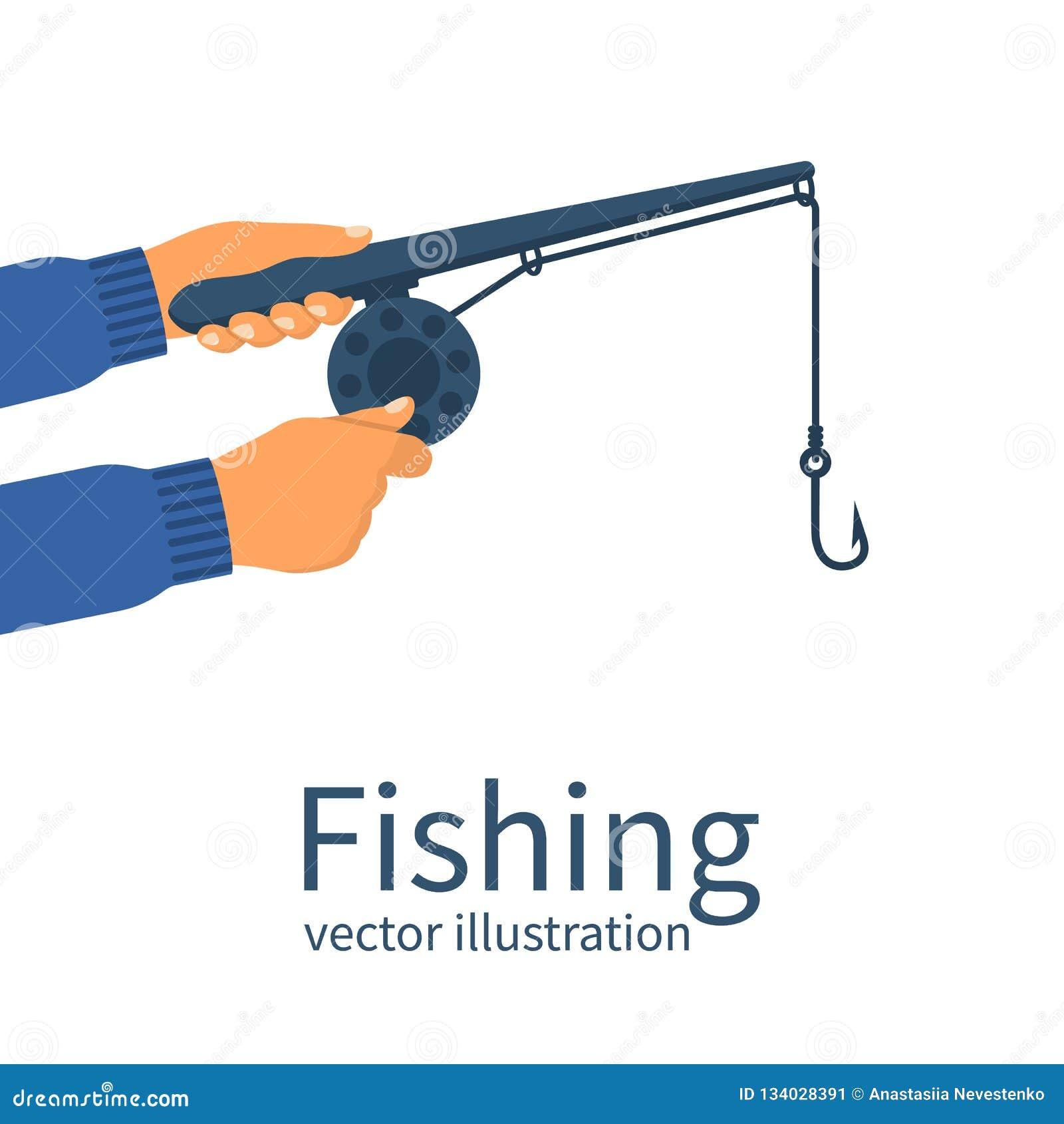 Vissersholding in handen klassieke hengel