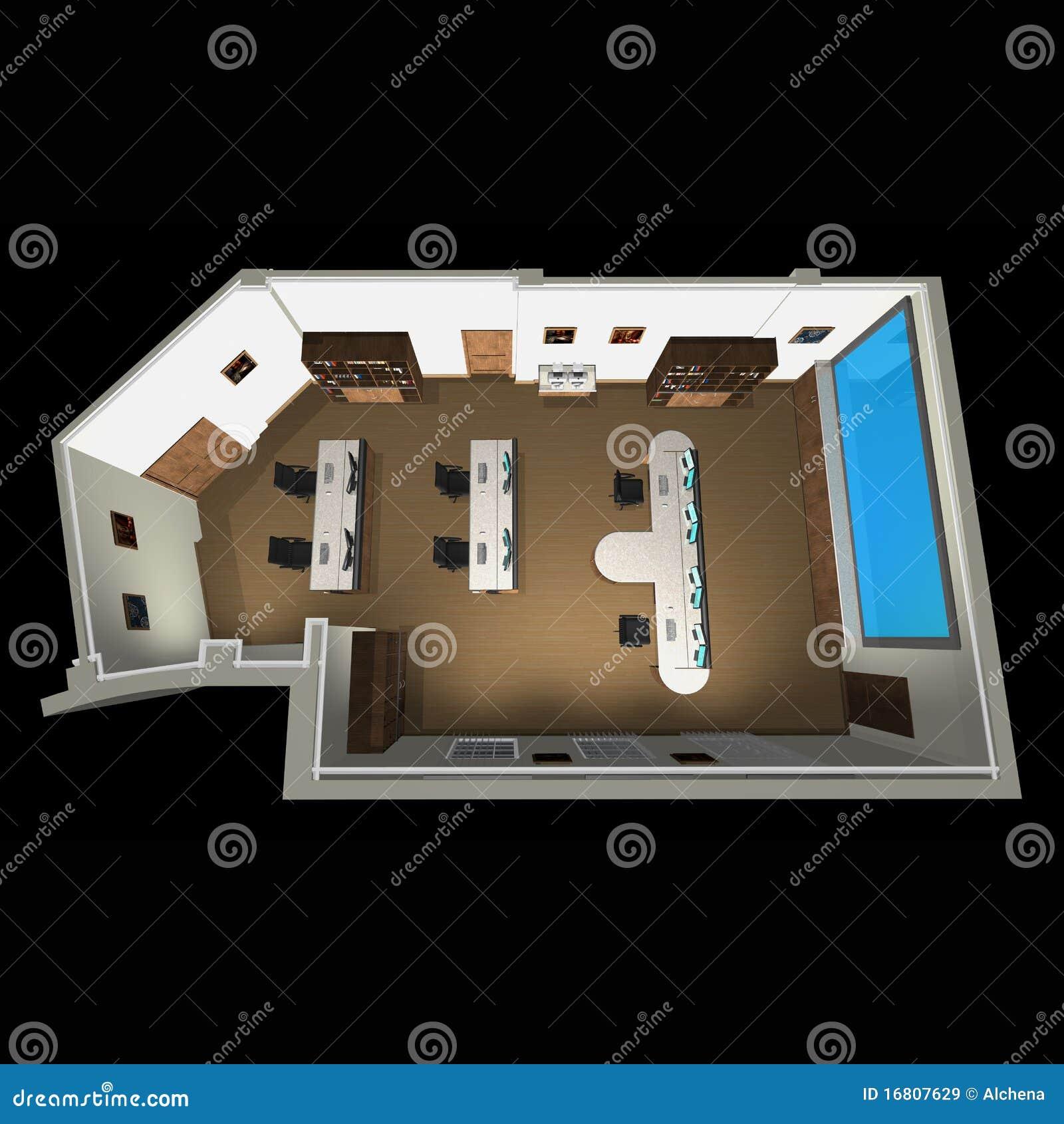 Vista 3d sulla disposizione della stanza dell 39 ufficio for Disposizione della casa libera