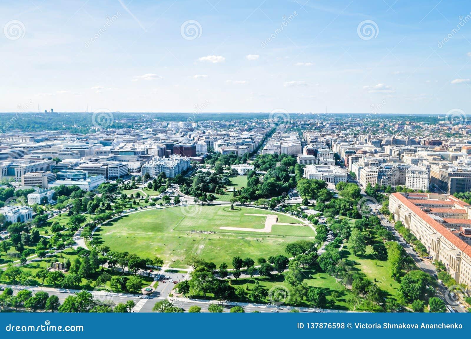 Vista aérea da casa branca e do National Mall no Washington DC, EUA