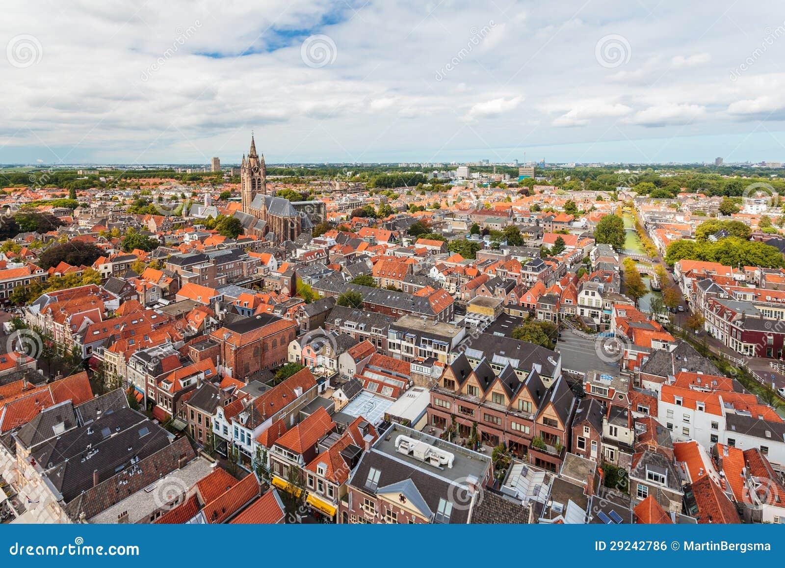 Download Vista Aérea Da Cidade Histórica Holandesa Delft Foto de Stock - Imagem de edifício, home: 29242786