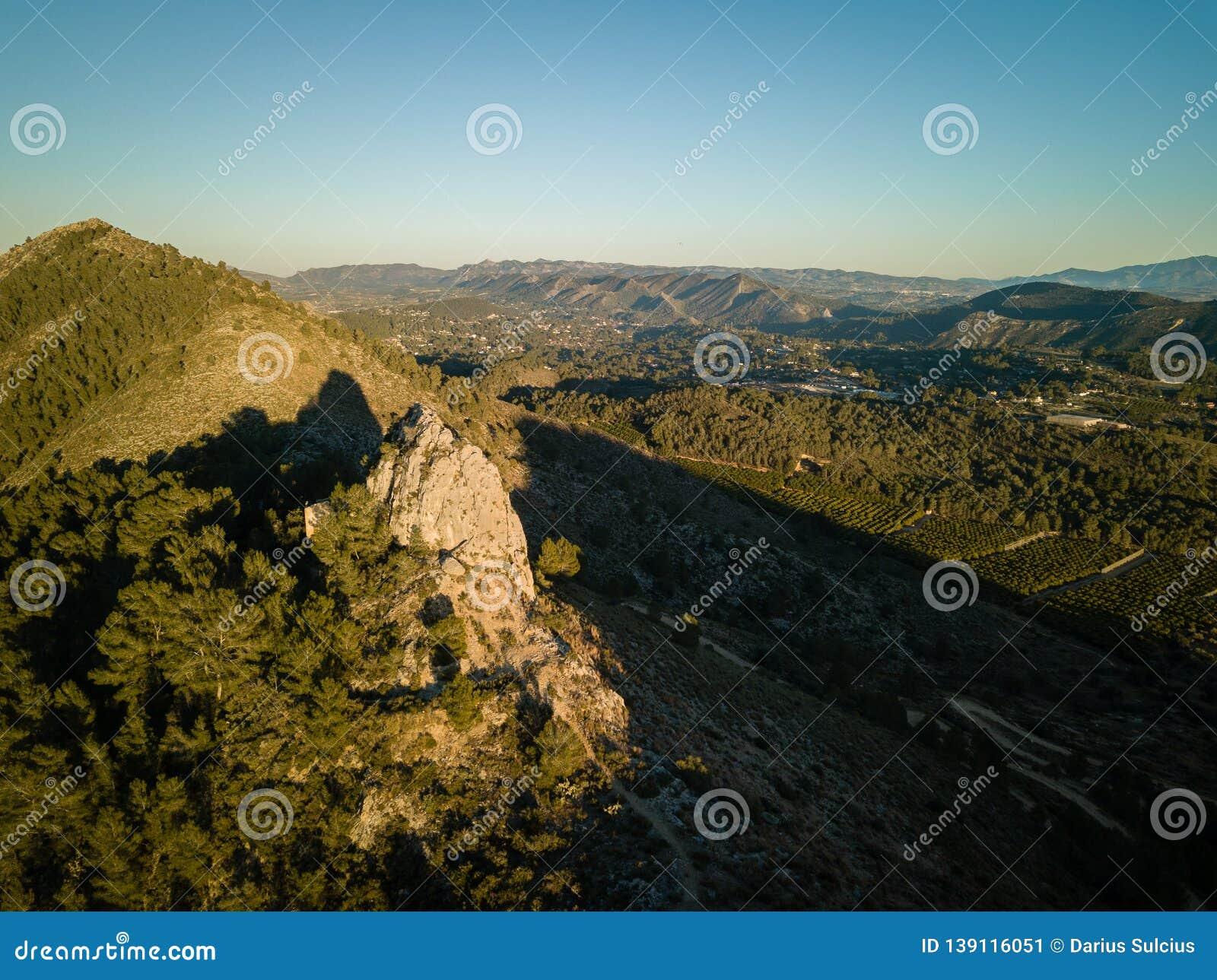 Vista aérea da fuga de caminhada Penia San Diego em Valência, Espanha