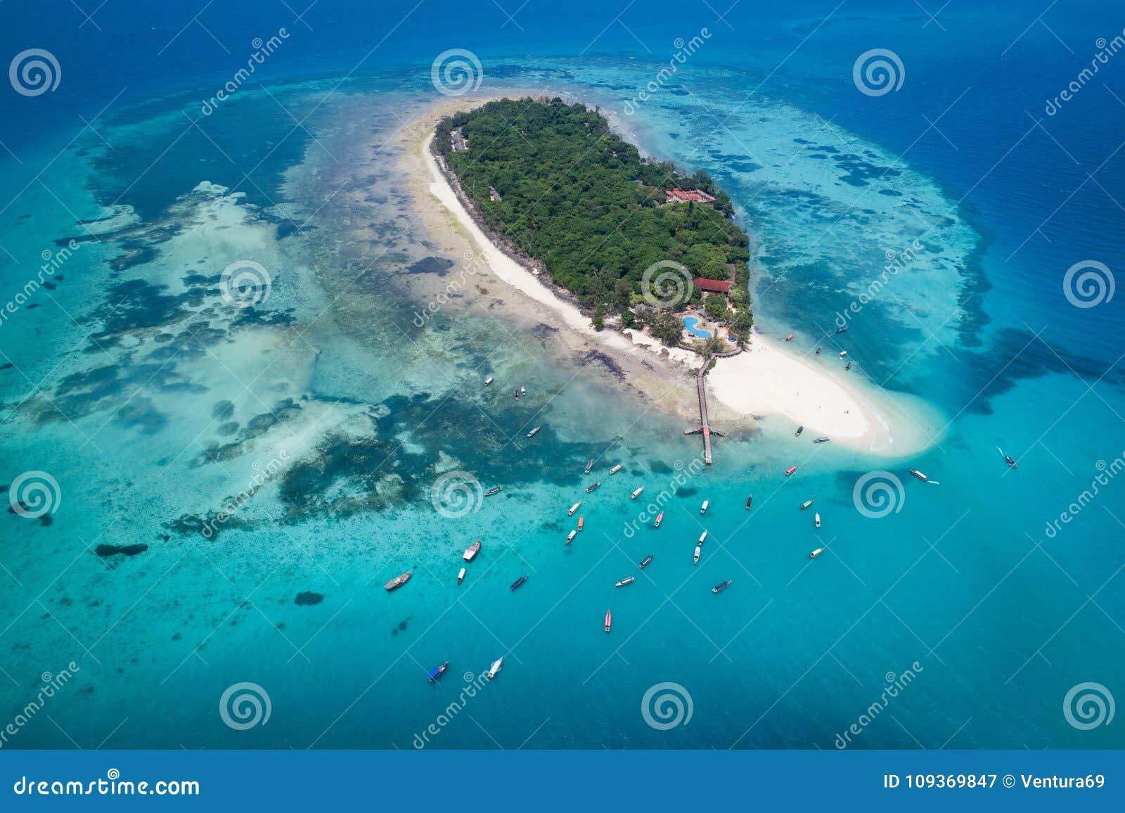 Vista aérea da ilha da prisão, Zanzibar