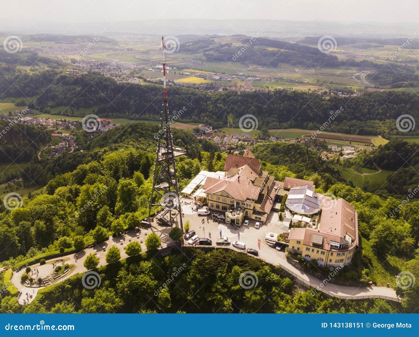Vista aérea da montanha de Uetliberg em Zurique, Suíça