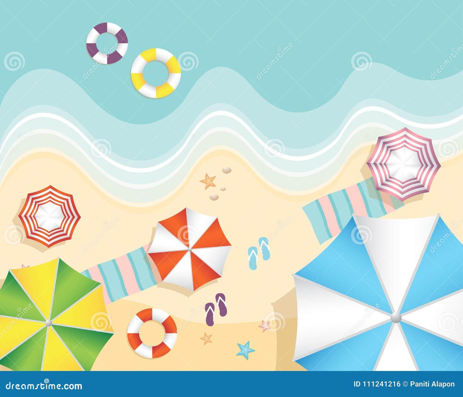 Vista aérea da praia do verão no estilo liso do projeto estrela do mar e verão, turismo do verão do abrandamento