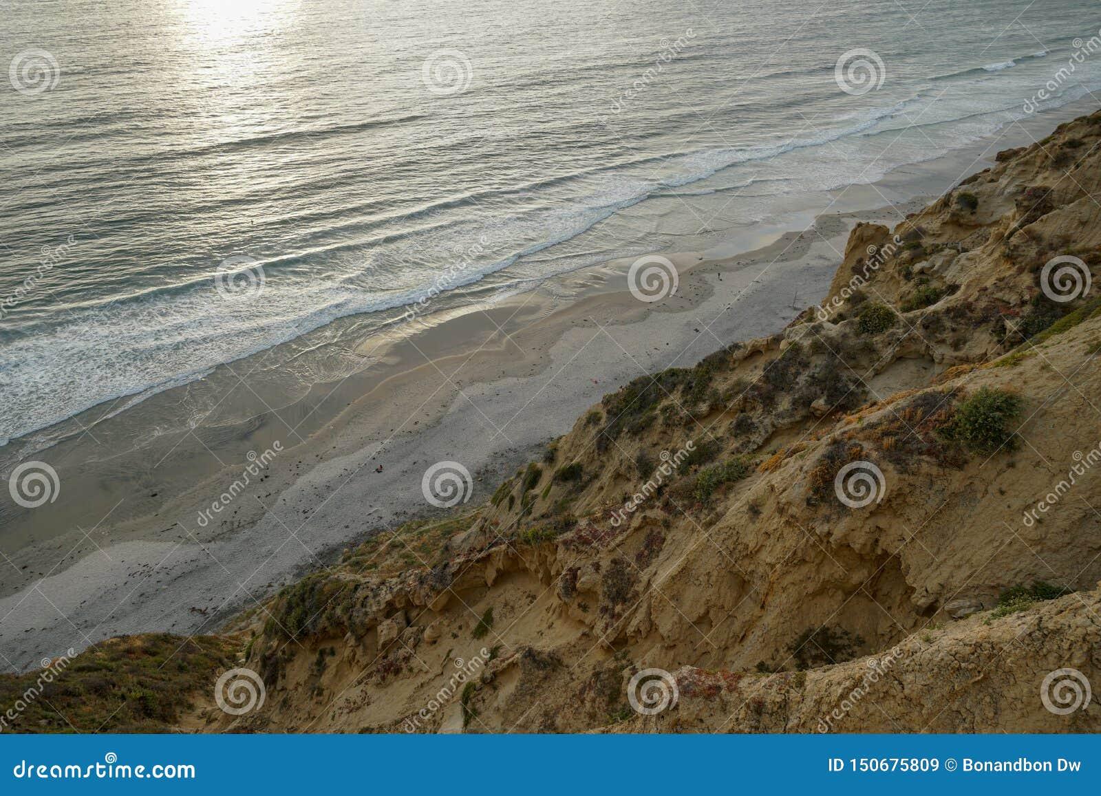 Vista aérea da praia preta, Torrey Pines calif?rnia EUA