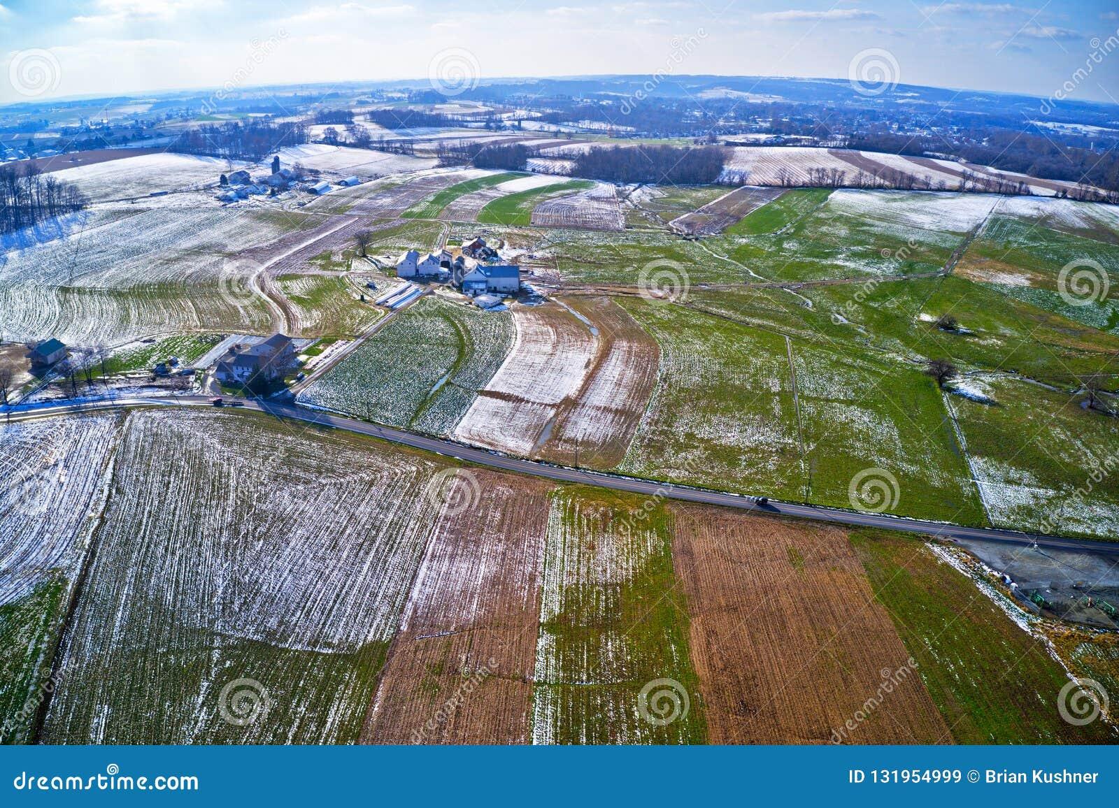 Vista aérea da terra Amish em Pensilvânia