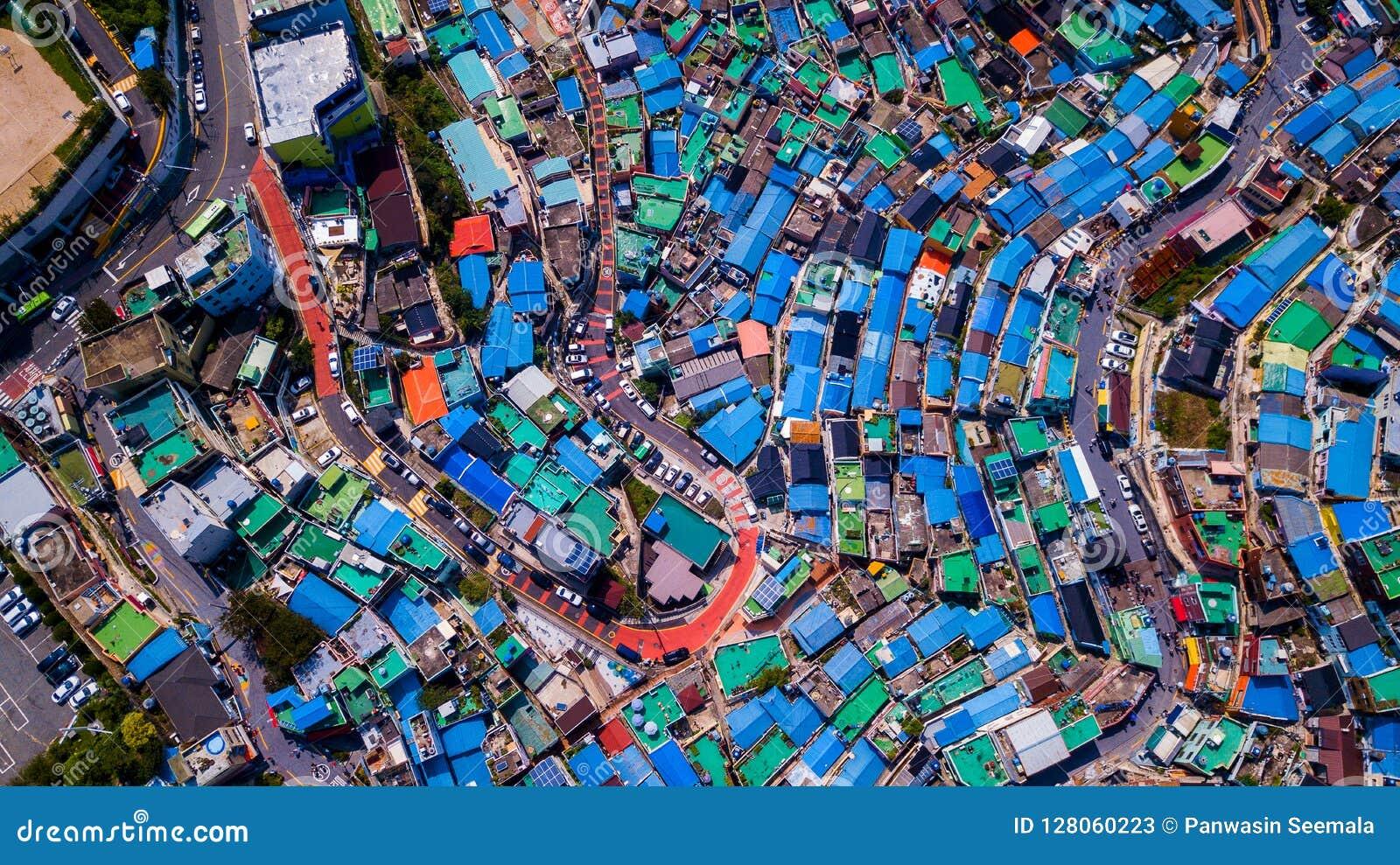 Vista aérea da vila da cultura de Gamcheon situada na cidade de Busan de