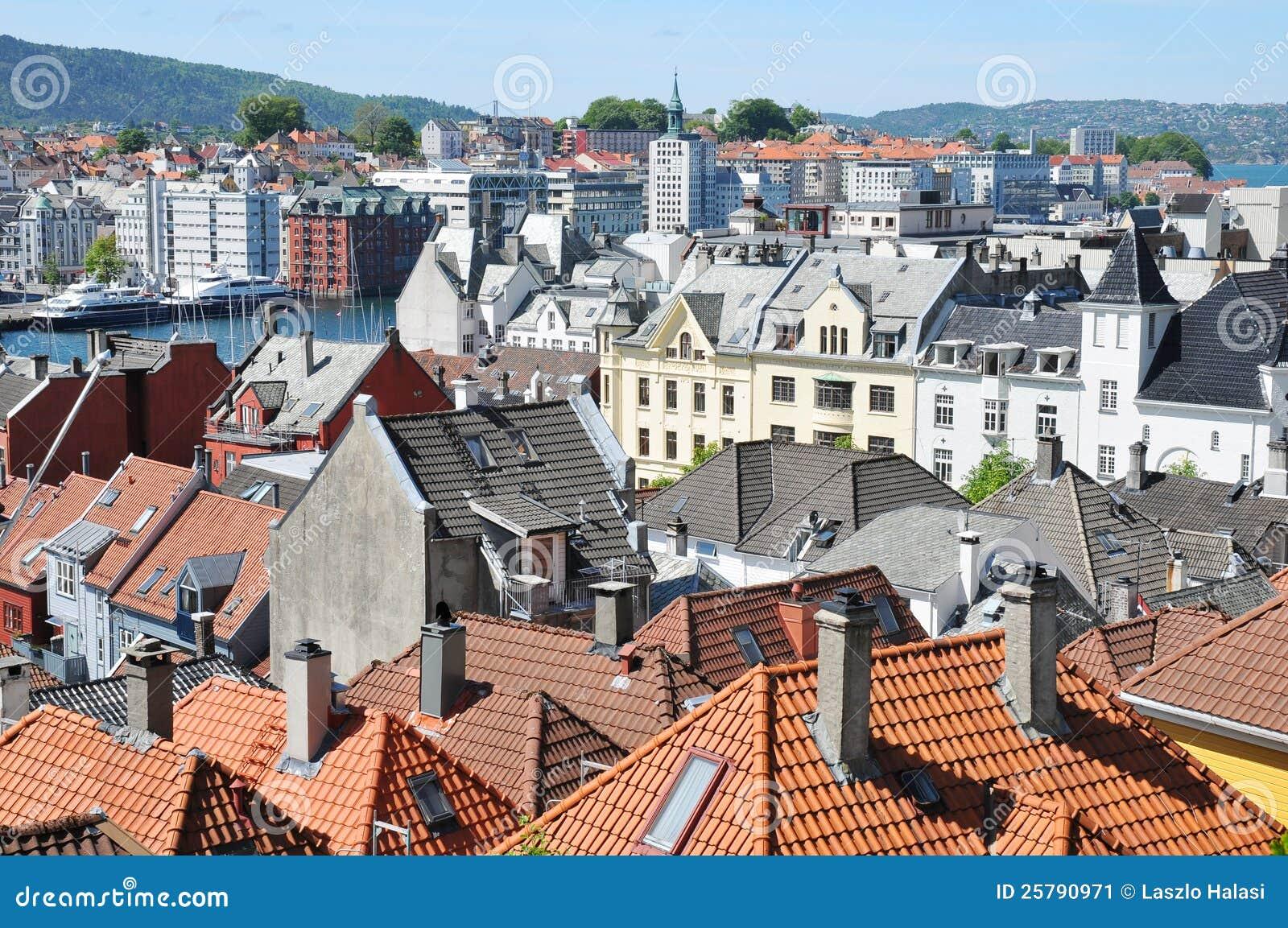 Vista aérea de Bergen, Noruega