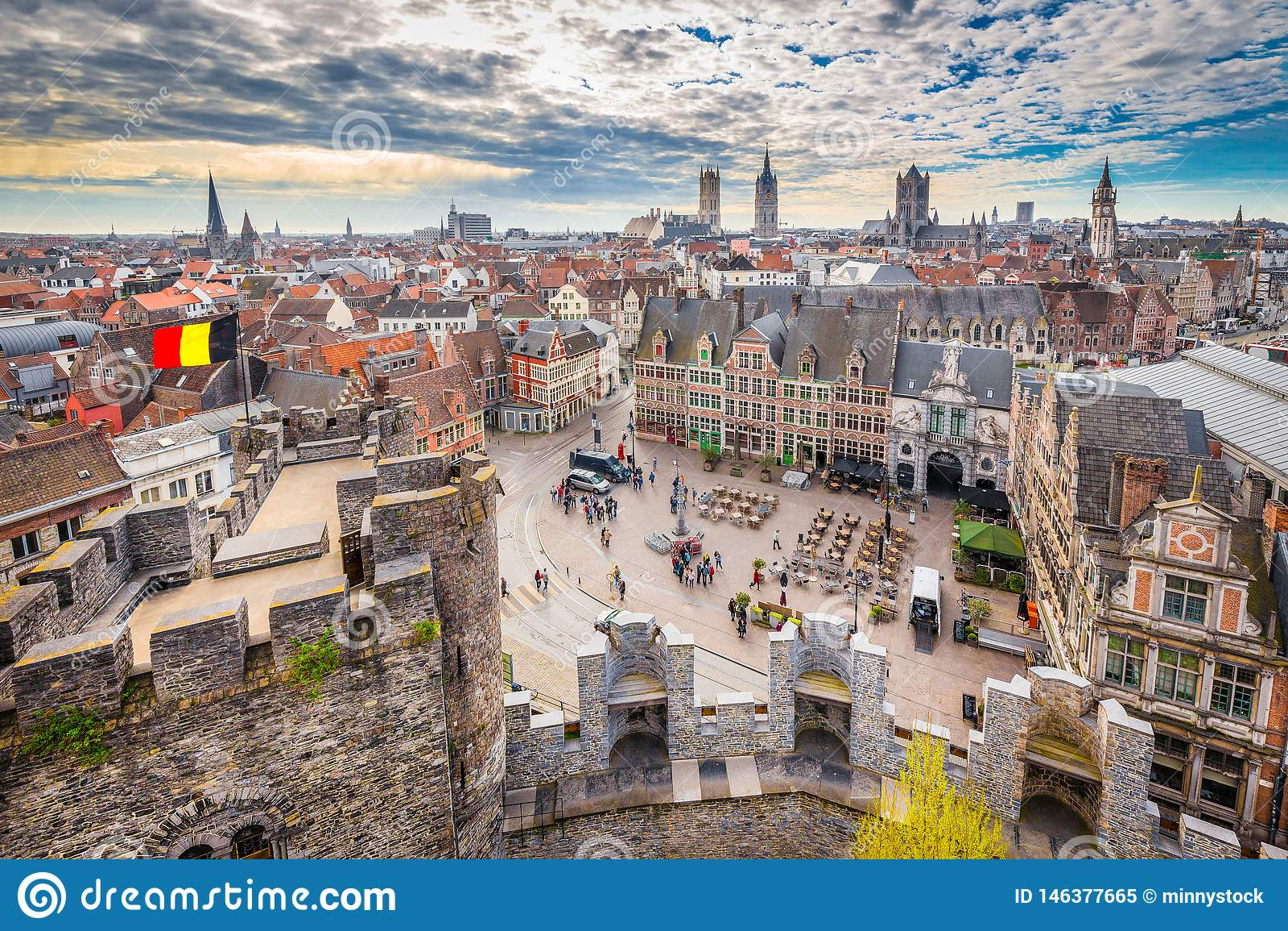 Vista aérea de Gante, Flandes, Bélgica